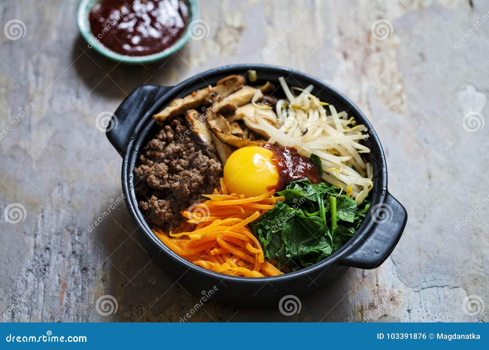 Piatto coreano del bibimbap