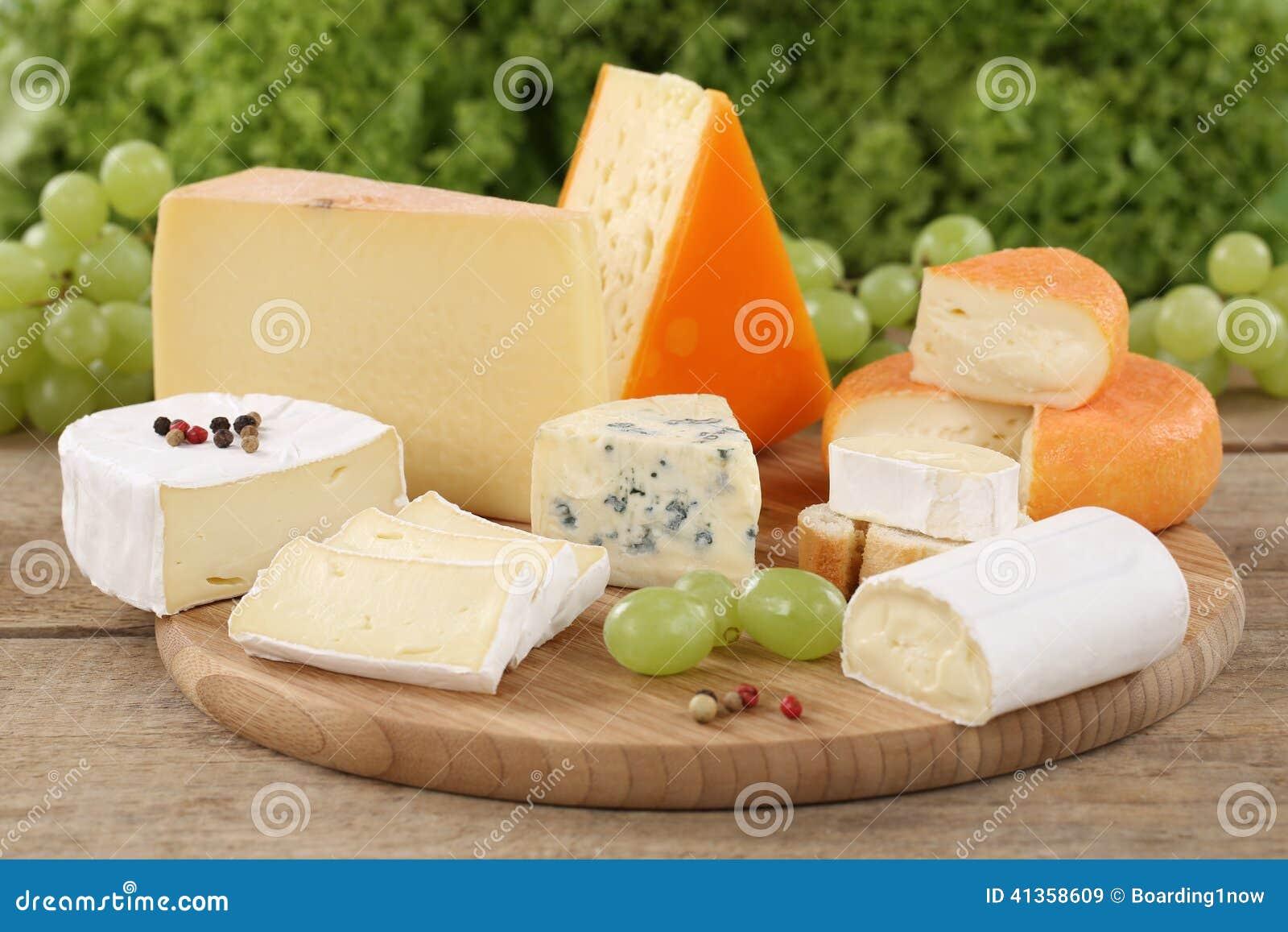 Piatto di formaggio con camembert, la montagna ed il formaggio svizzero