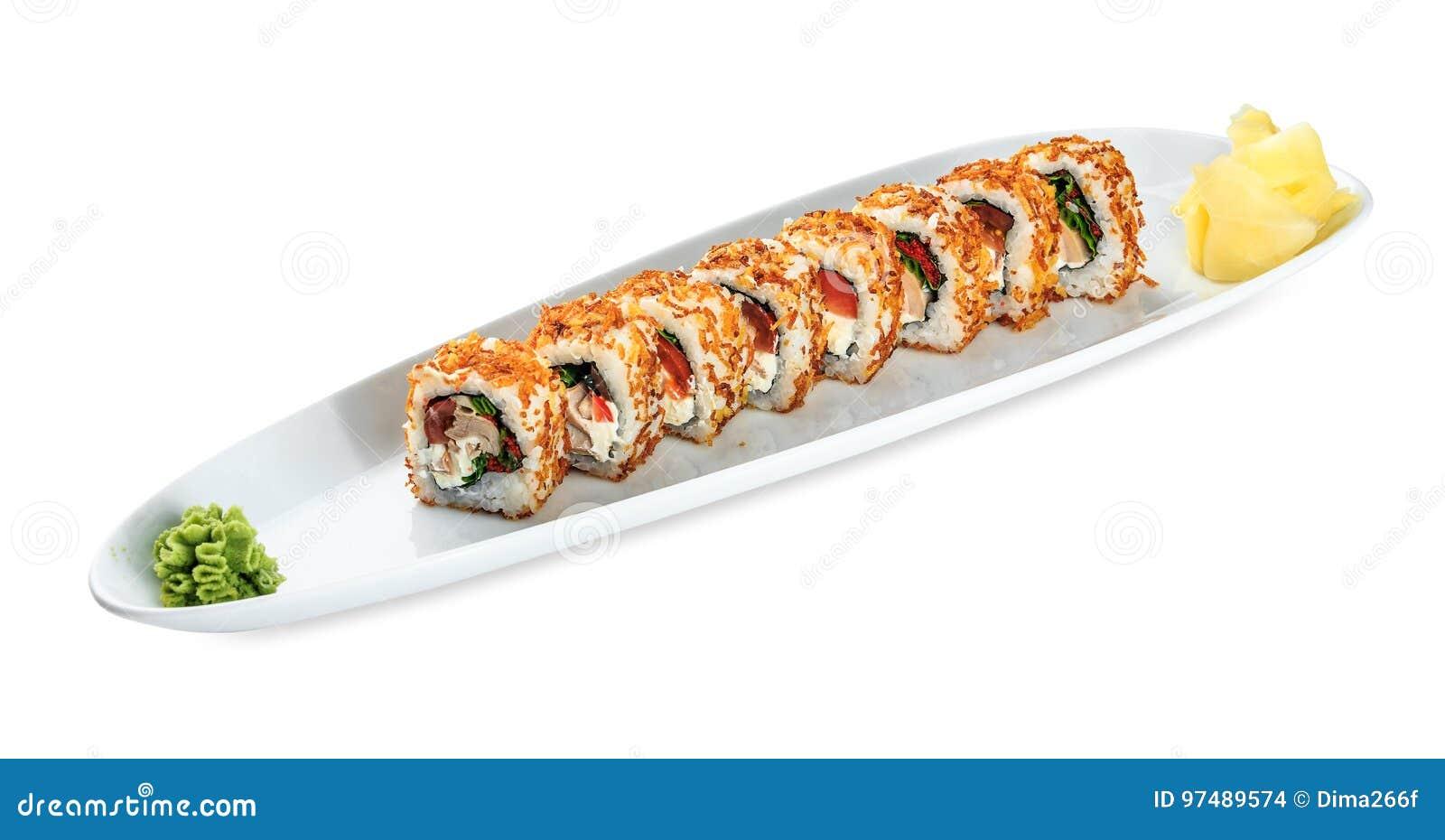 Piatto di Tori Kunsei Yasai dei sushi - isolato su bianco