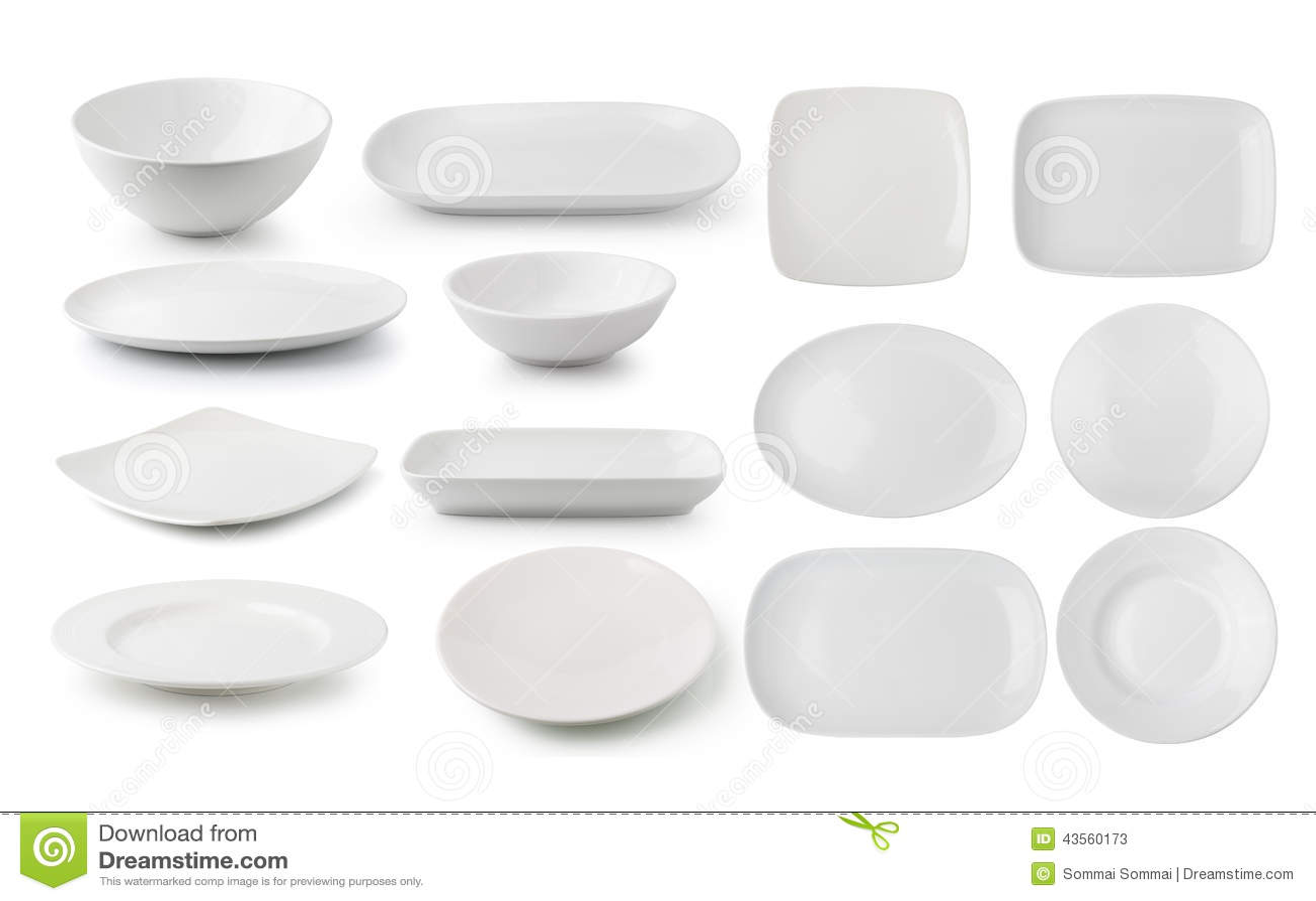 Piatto e ciotola bianchi della ceramica su fondo bianco