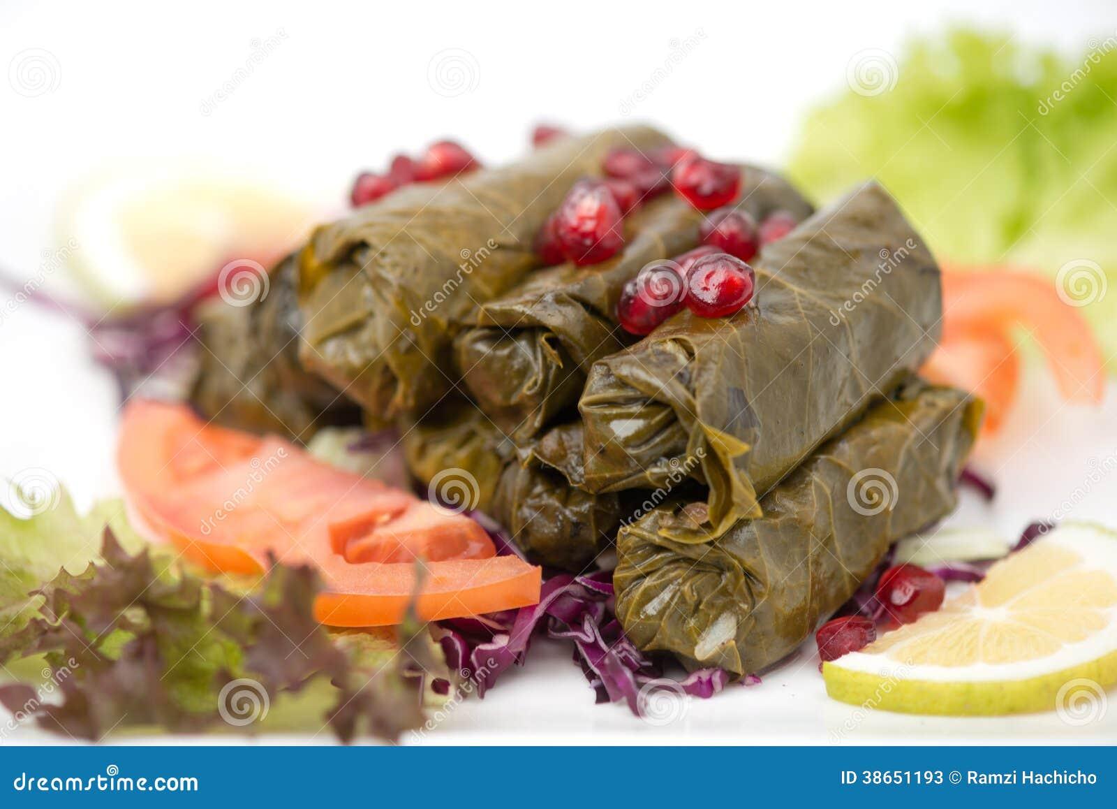 Piatto Farcito Delle Foglie Di Vite Cucina Libanese