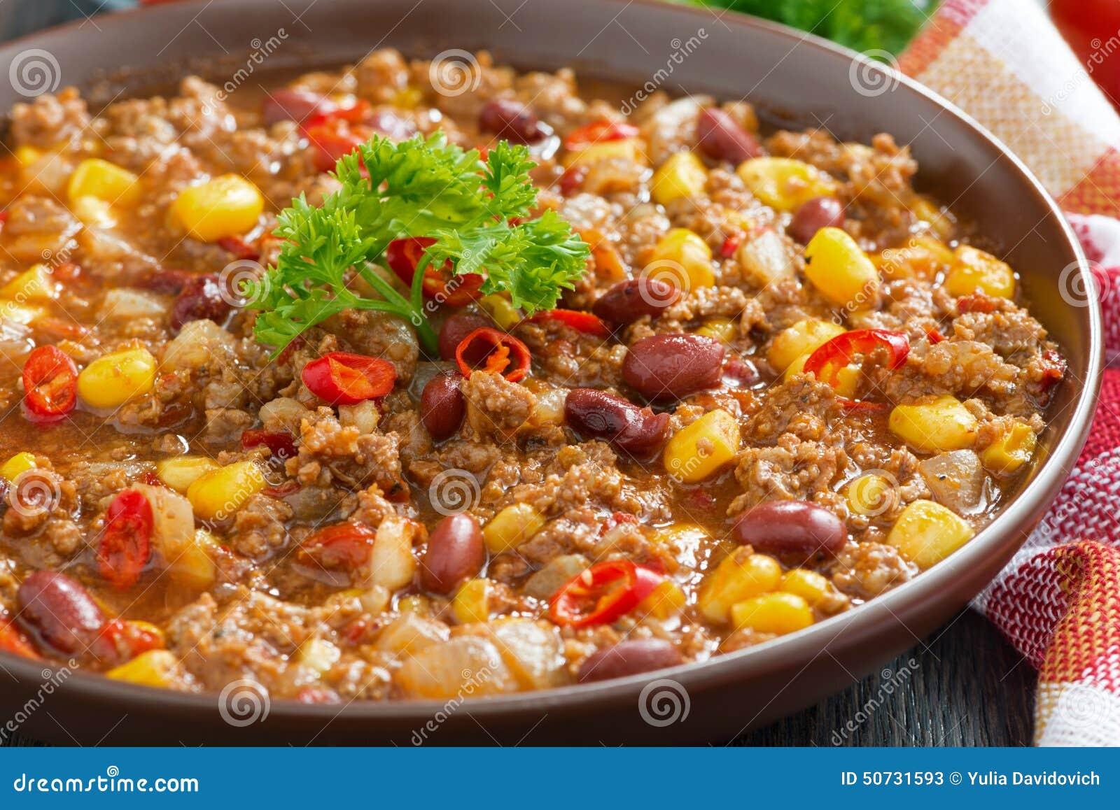 best service 97b61 bbf55 Piatto Messicano Piccante Chili Con Carne In Un Piatto ...
