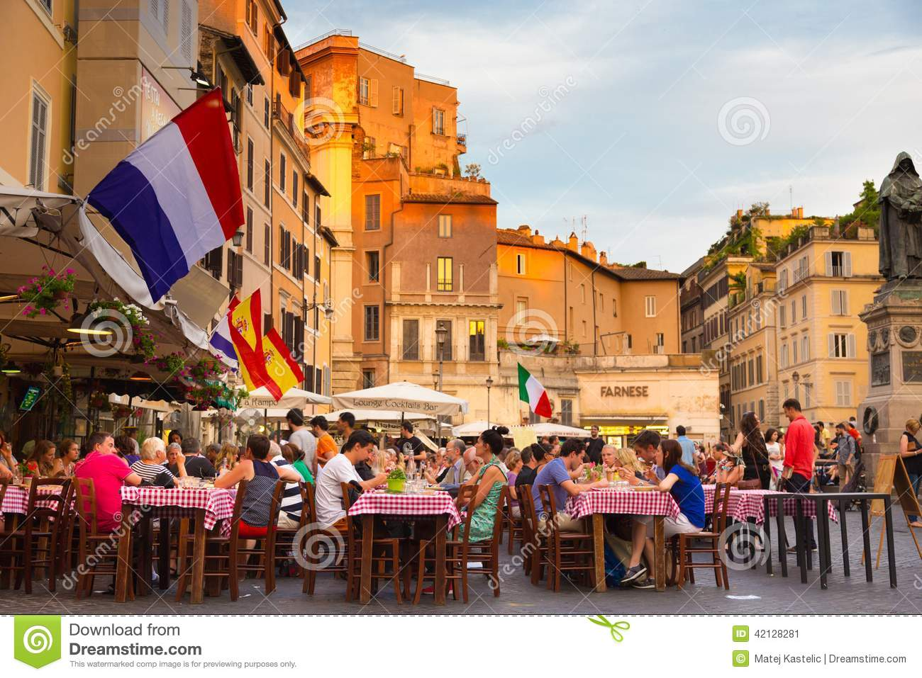 Piazza Campo De Fiori In Rome Italy Editorial Photo  : piazza campo de fiori rome italy june people having aperitif which traditionally includes free all you can eat buffet pizzas 42128281 from www.dreamstime.com size 1300 x 957 jpeg 183kB