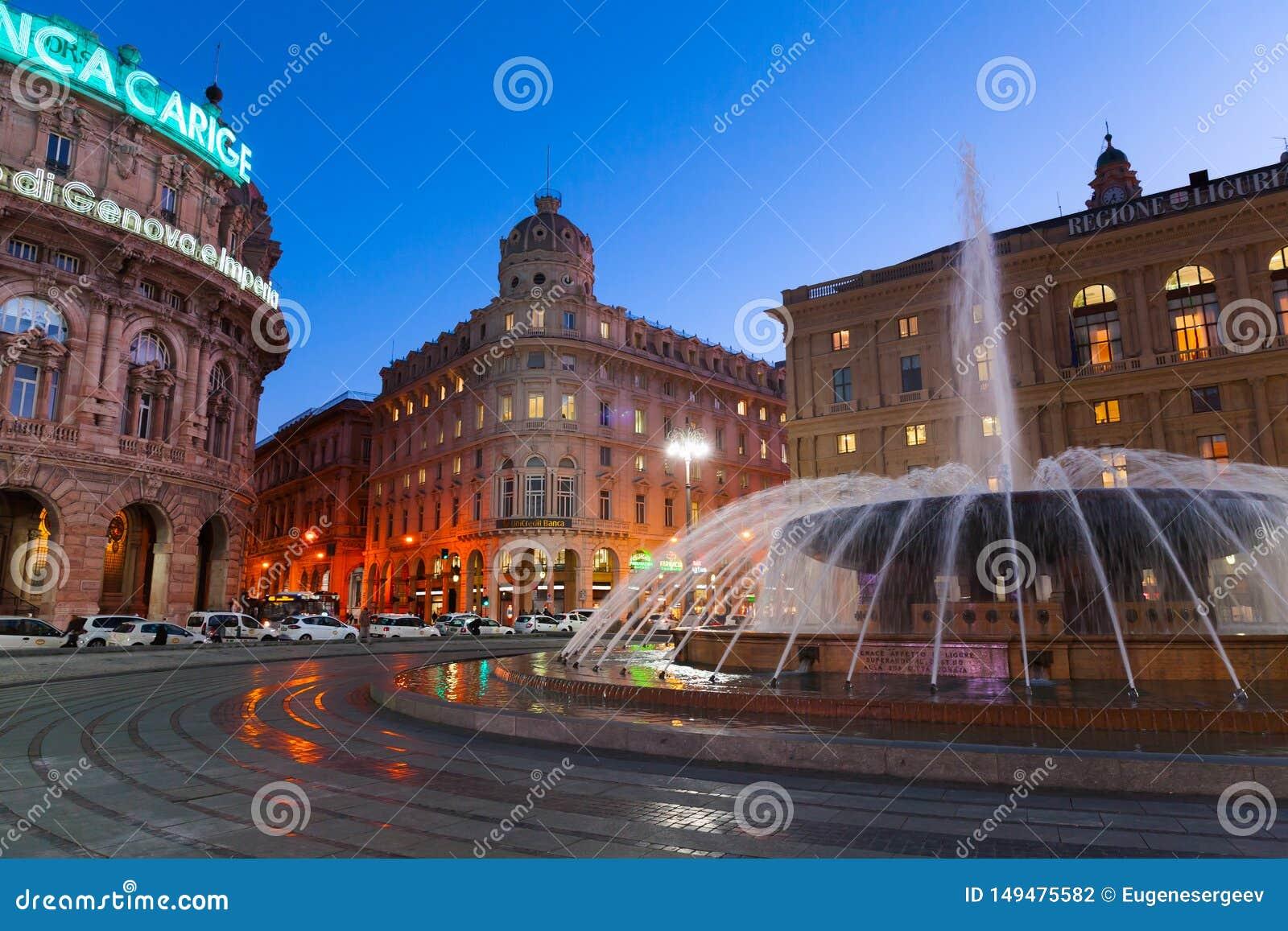 Piazza de Ferrari τη νύχτα, Γένοβα