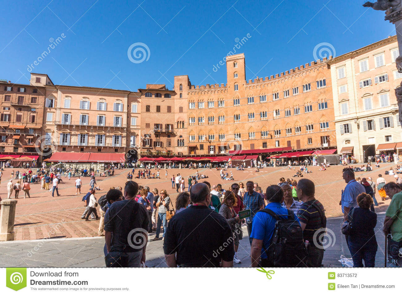 At Piazza Del Campo, Siena, Italy Editorial Photography