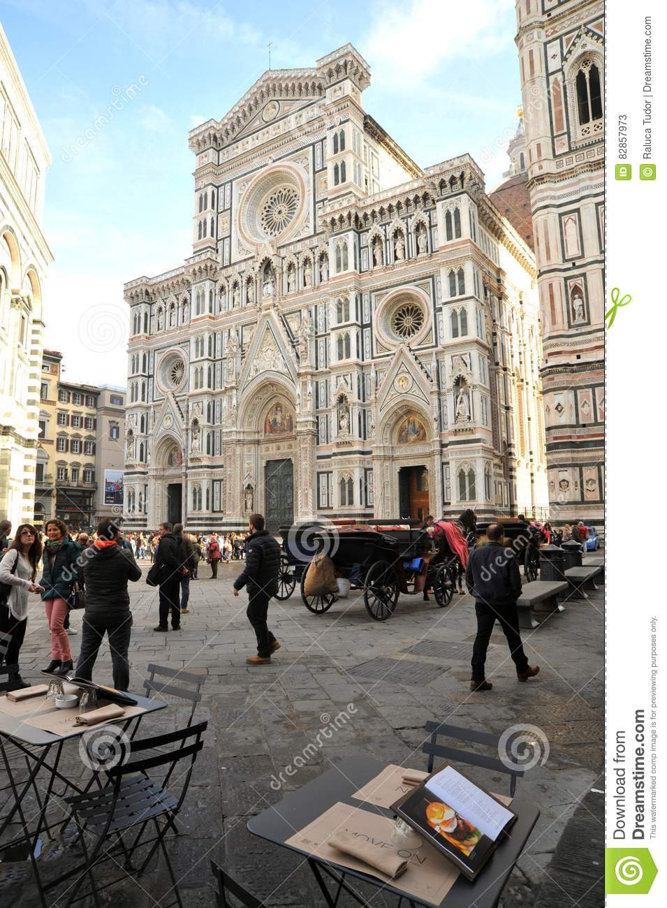 Italian Florence: Piazza Del Duomo In Florence City , Italy Editorial Stock