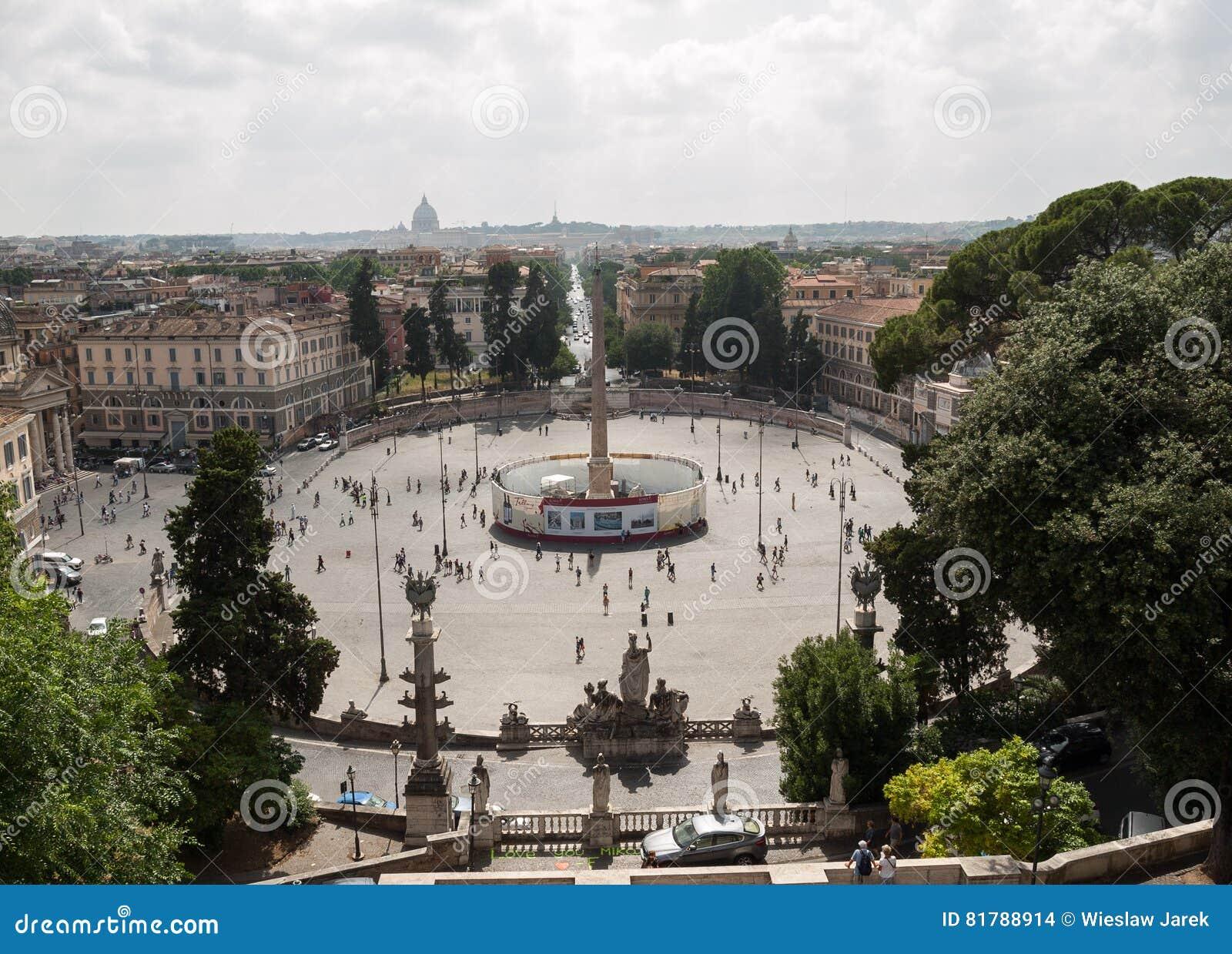 Piazza del Popolo view from Pincio terrace in Rome.