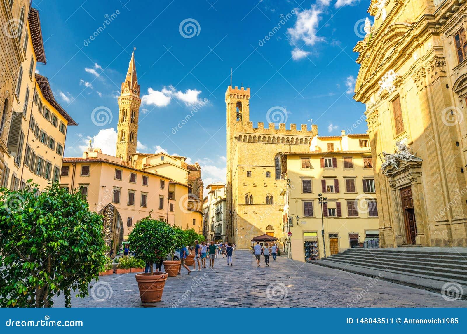 Piazza di San Firenze square with Chiesa San Filippo Neri, Badia Fiorentina Monastero catholic church and Bargello museum in histo