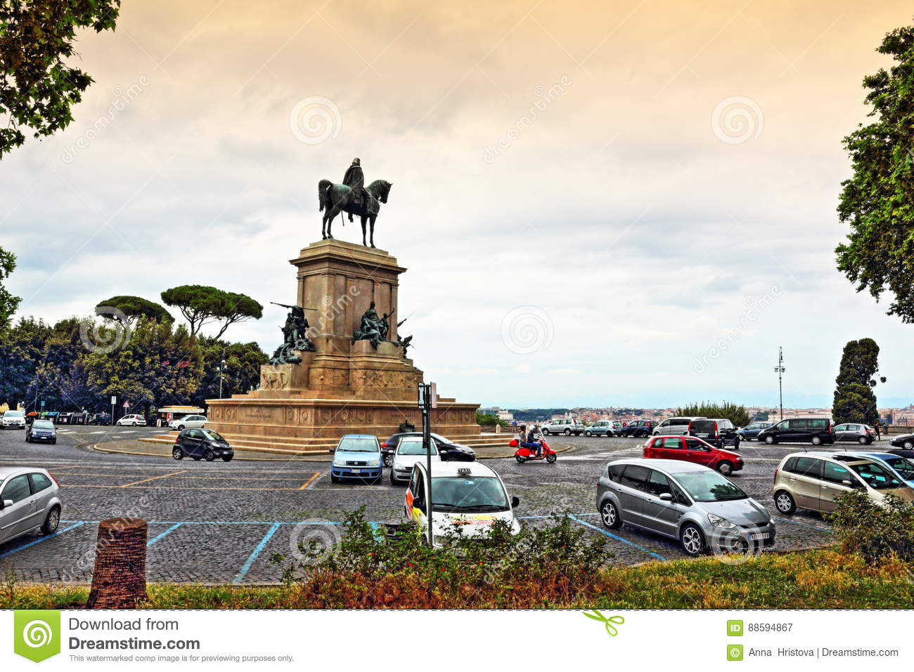 Piazza Garibaldi Rome City Skyline Italy Editorial