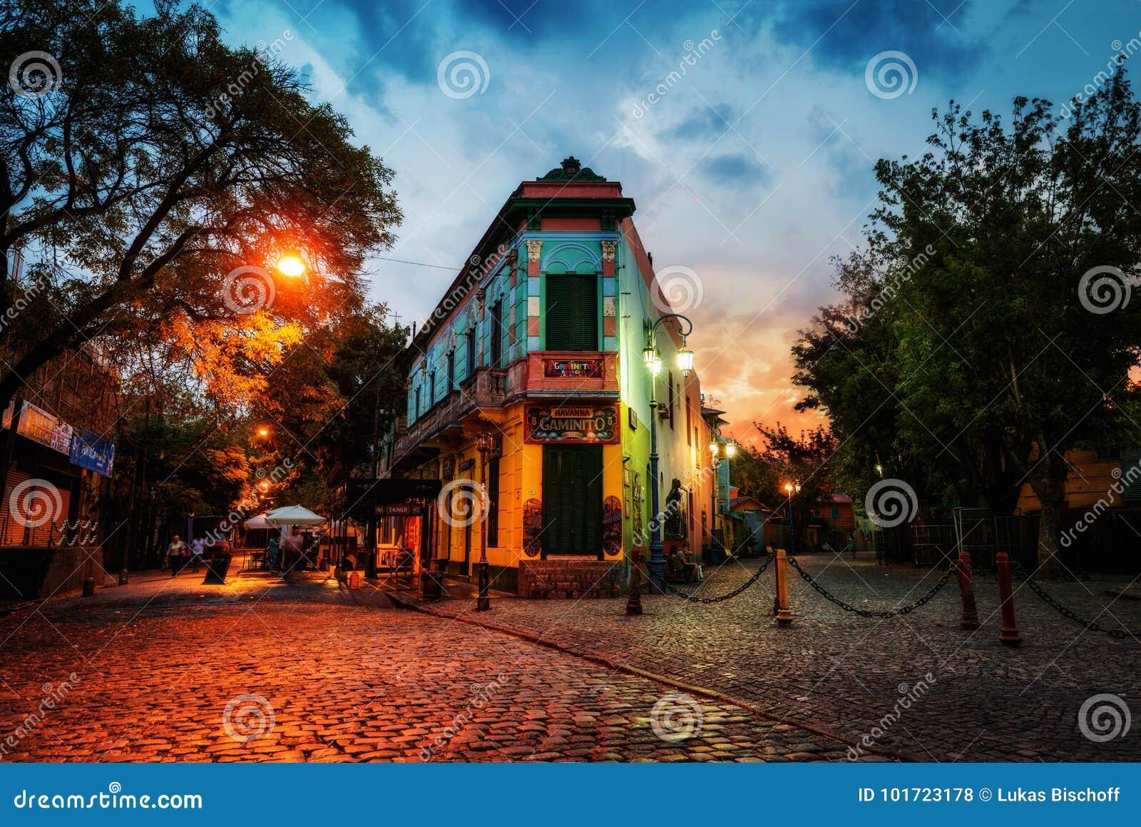 Piazza pubblica in La Boca, Buenos Aires, Argentina Preso durante