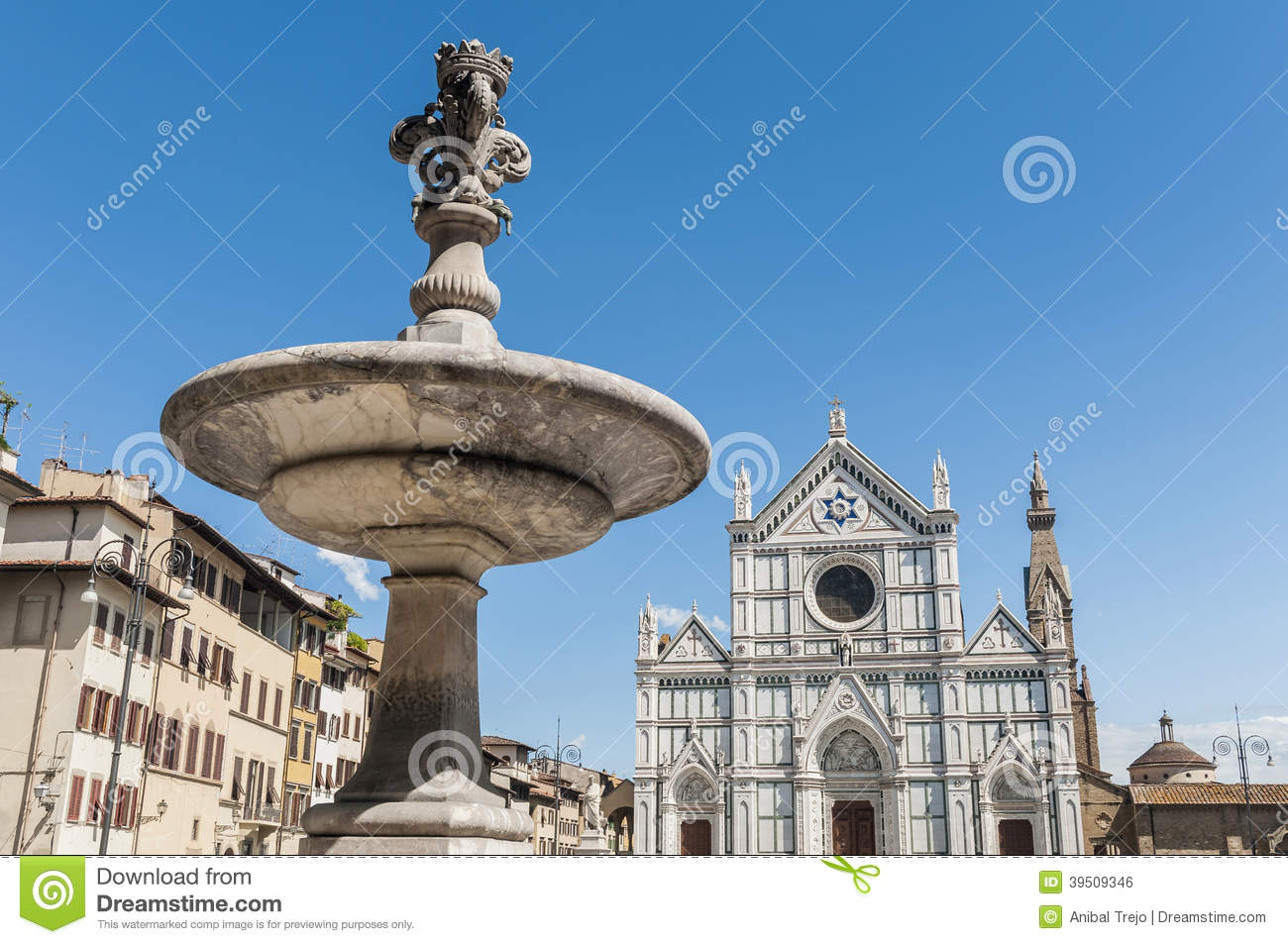 Piazza Santa Croce square in Florence, Italy