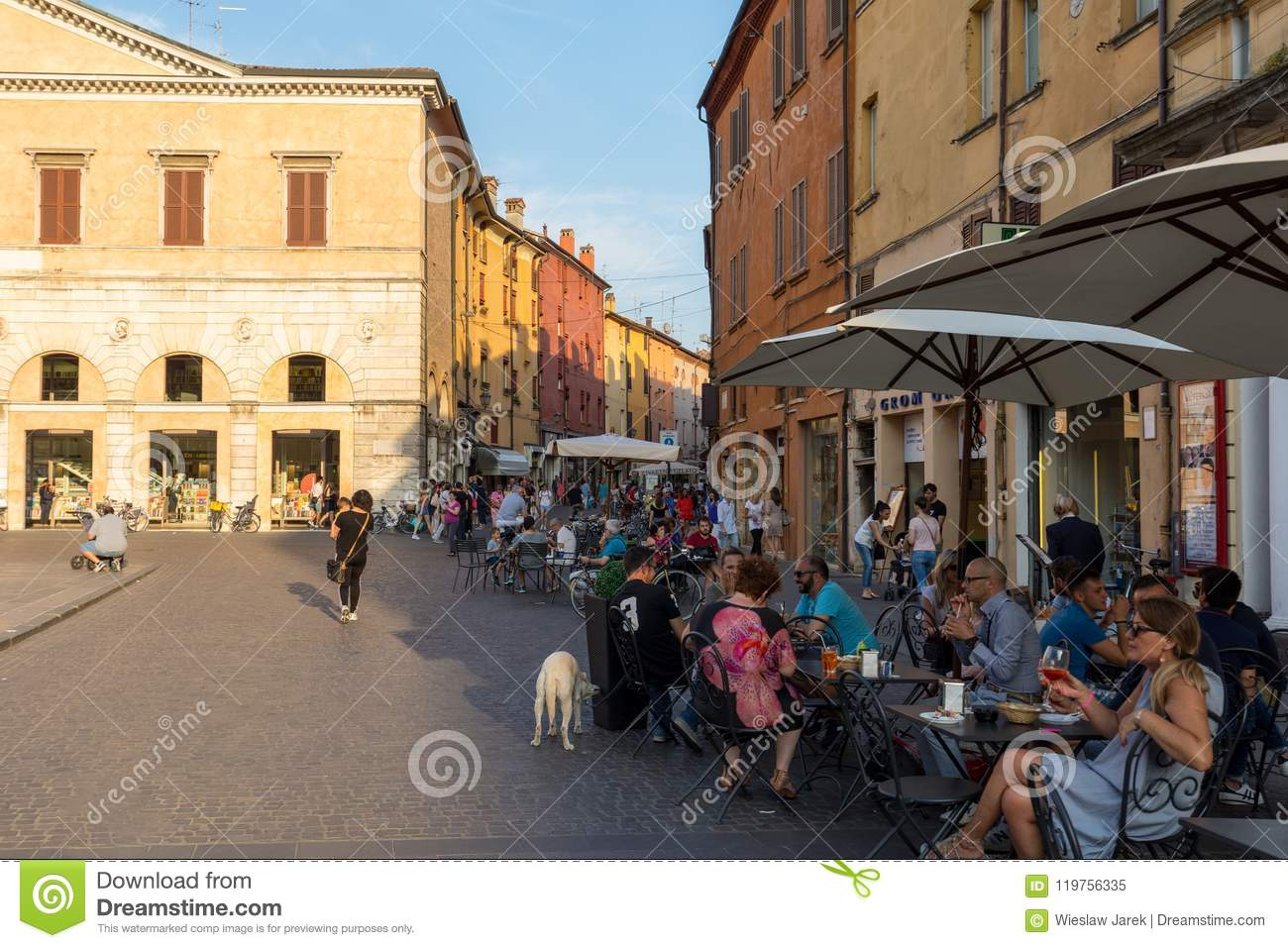 Piazza Trento Trieste in Ferrara, Italy.Square in the historic center of Ferrara, a meeting place of citizenship and tourists