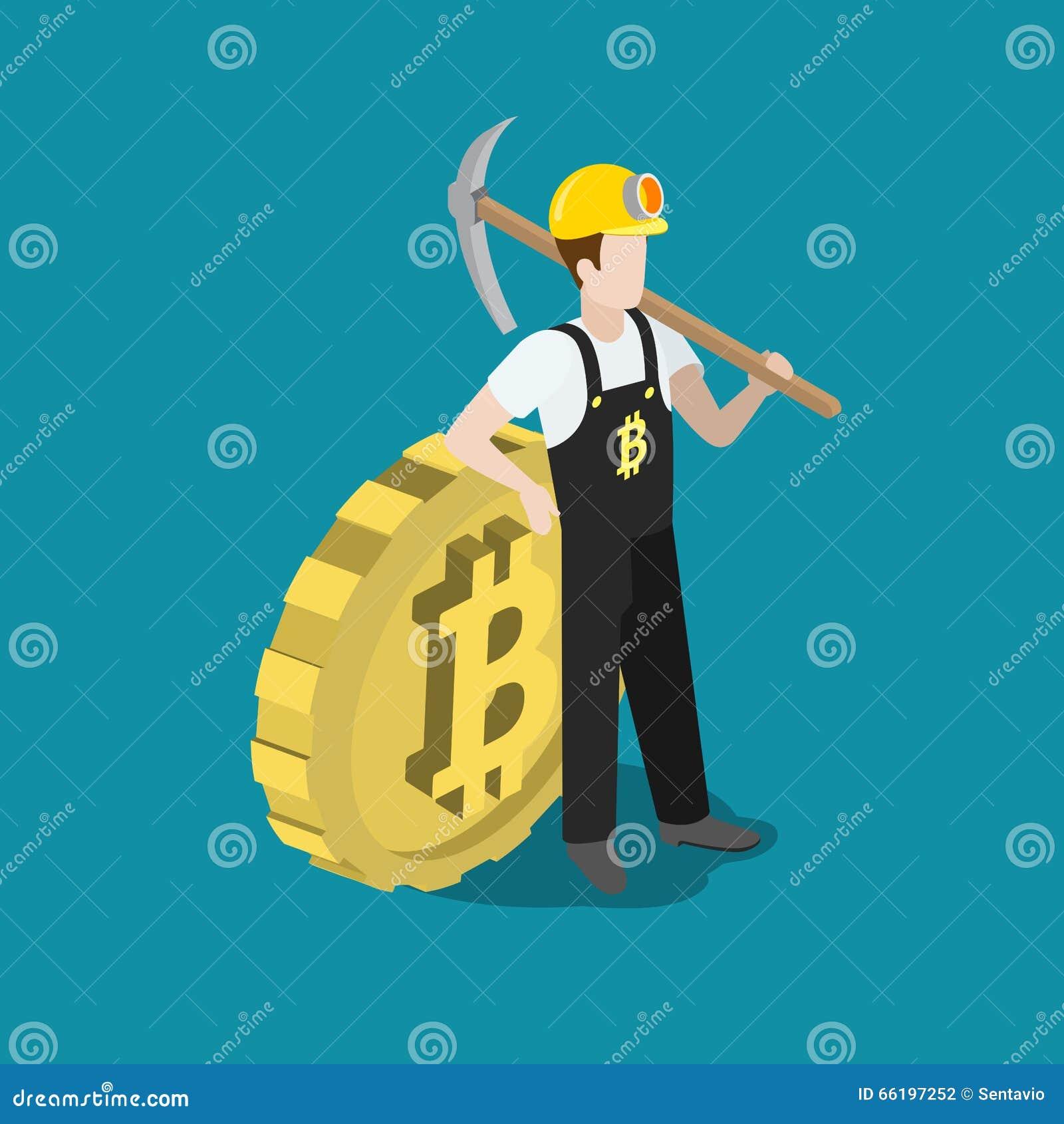 A picareta do mineiro da mineração de Bitcoin mordeu o vetor 3d liso da moeda isométrico