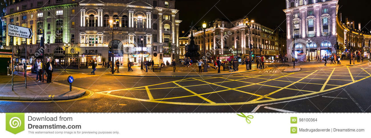 Bars Near Piccadilly Circus >> Piccadilly Circus Square At Night In London Uk Editorial