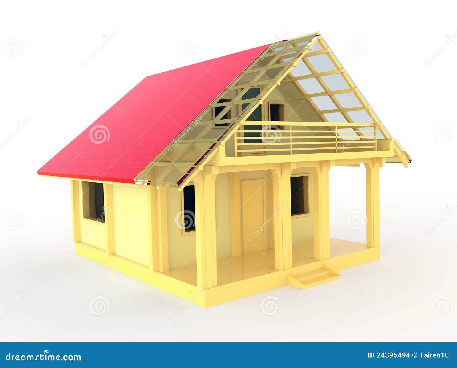 Piccola casa di legno con il terrazzo ed il balcone for Piccola casa con avvolgente portico