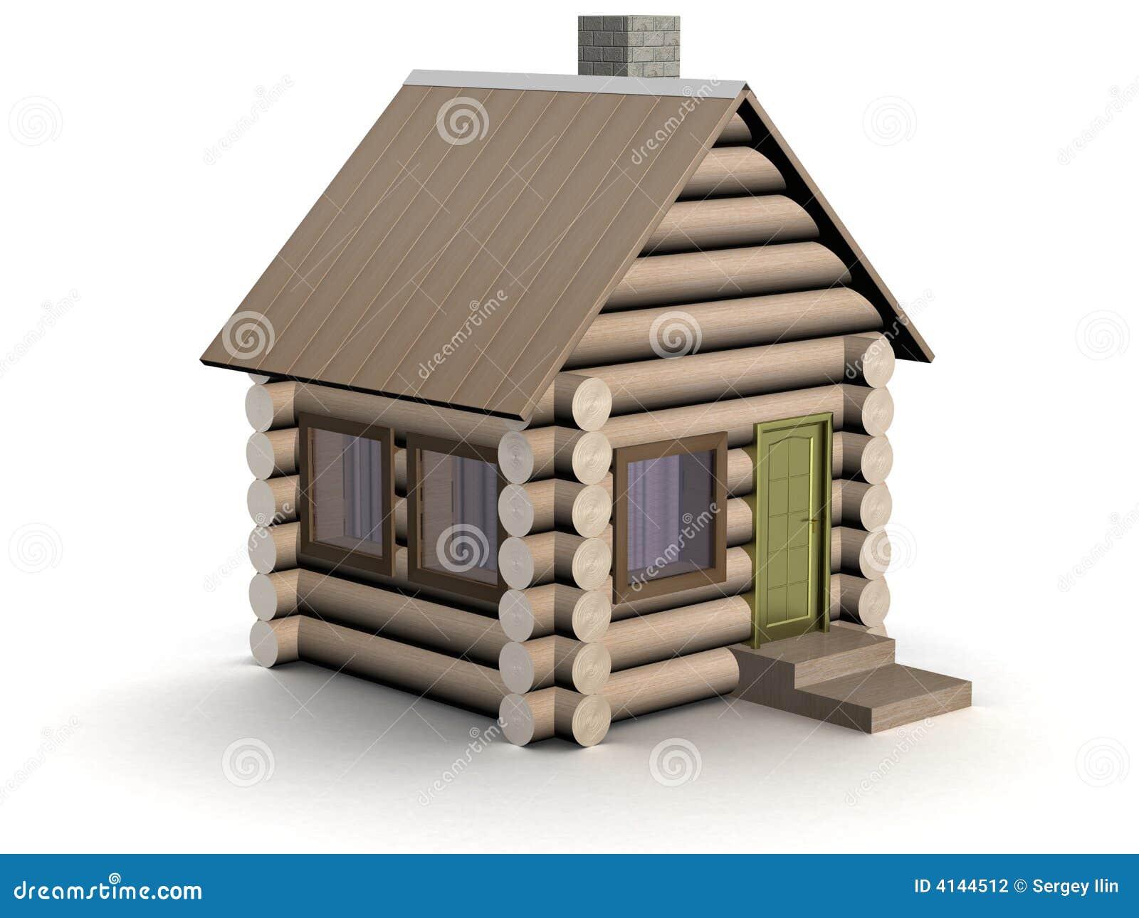 Piccola casa di legno l 39 illustrazione isolata fotografia for Schizzo di piccola casa