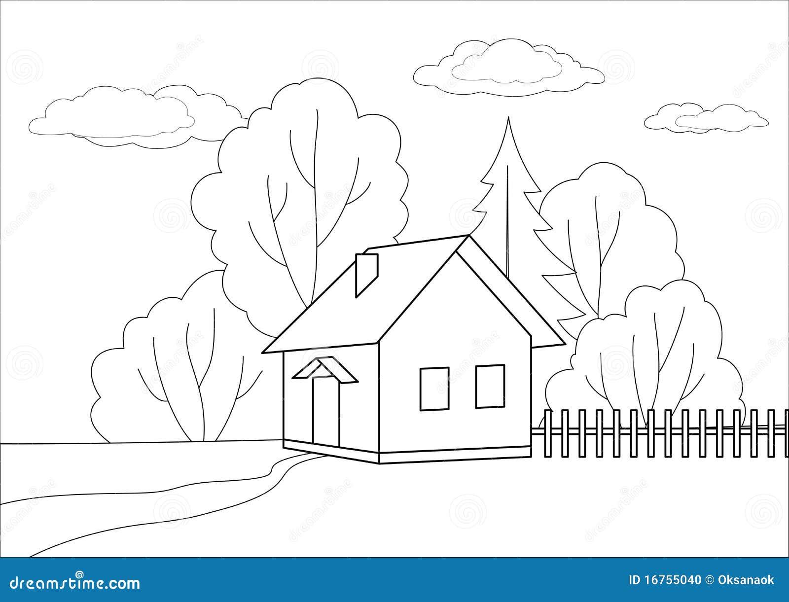 Piccola casa su un bordo di legno profili illustrazione for Schizzo di piccola casa