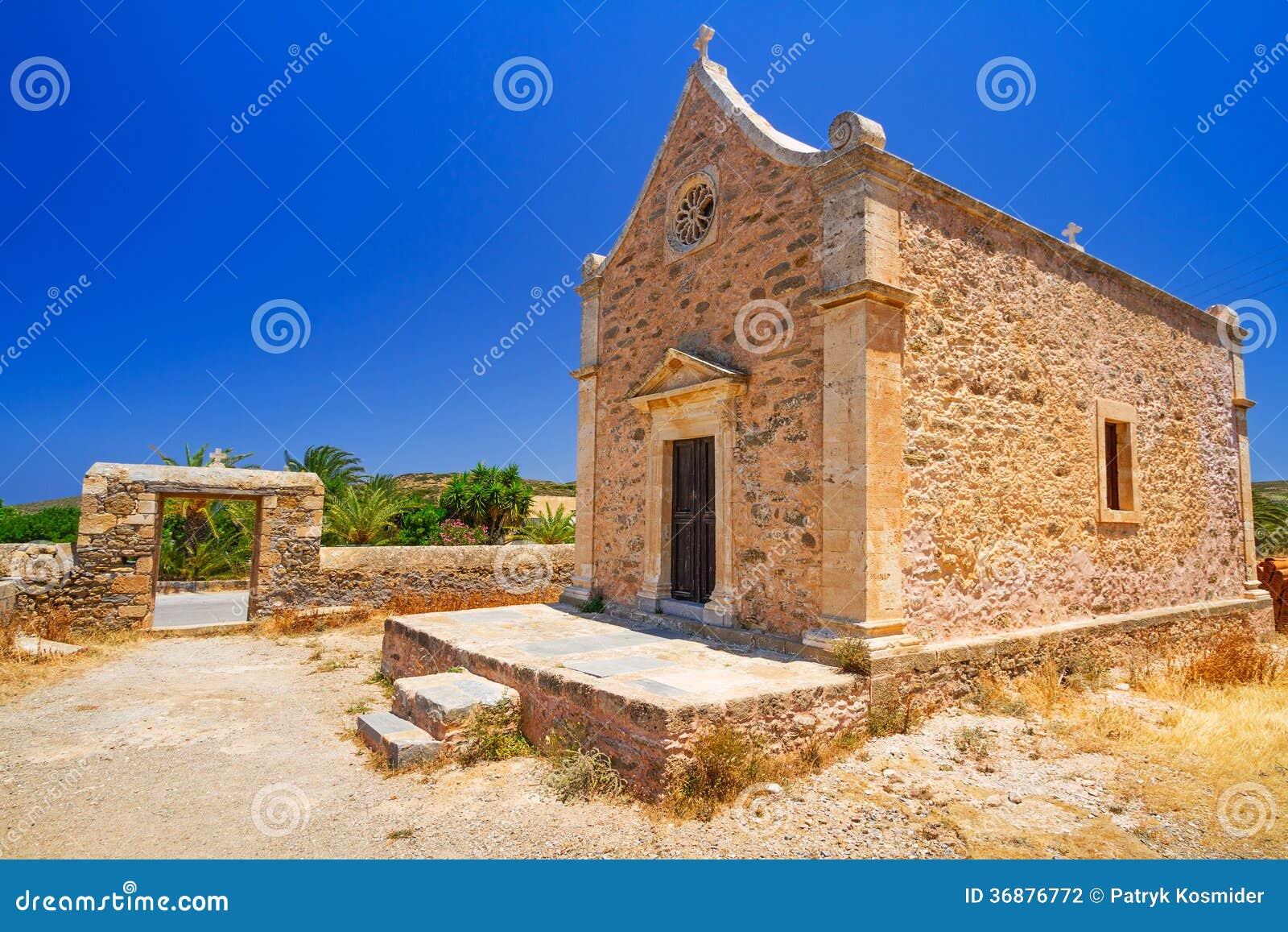 Download Piccola Chiesa Tradizionale Su Creta Fotografia Stock - Immagine di nessuno, costruzione: 36876772