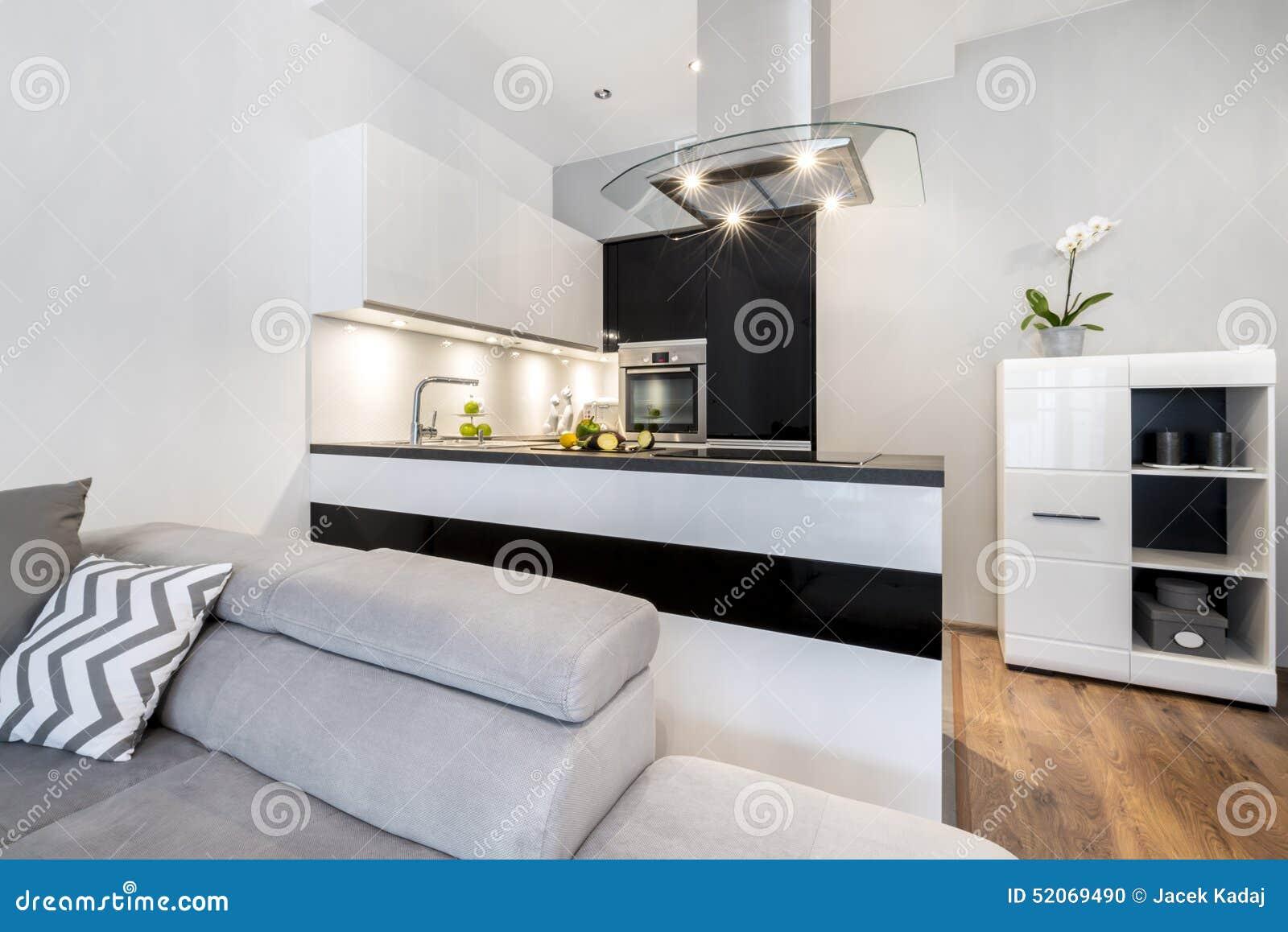 Interior Design Moderno Della Cucina In Bianco E Nero Fotografia ...
