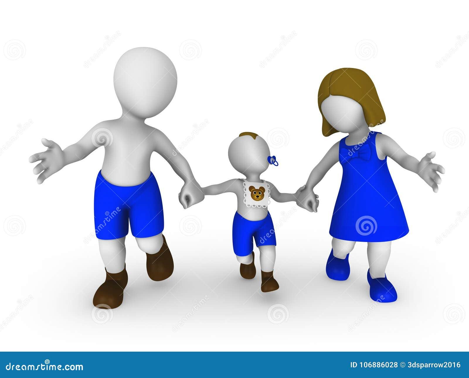 Piccola gente 3d: madre, padre e figlio