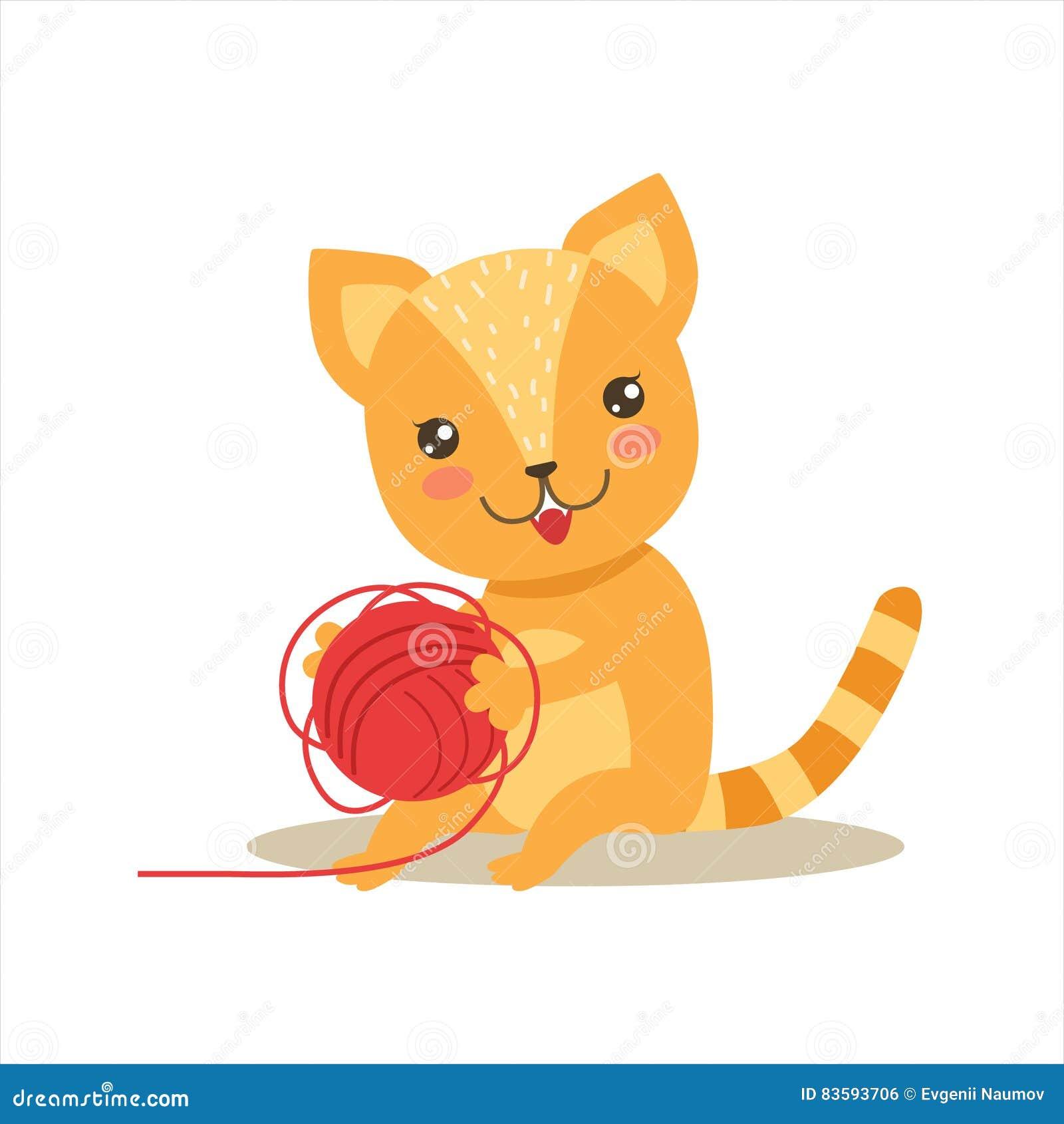 Piccola Kitten Playing With Clew Ball sveglia Girly rossa, illustrazione di situazione di vita del carattere dell animale domesti