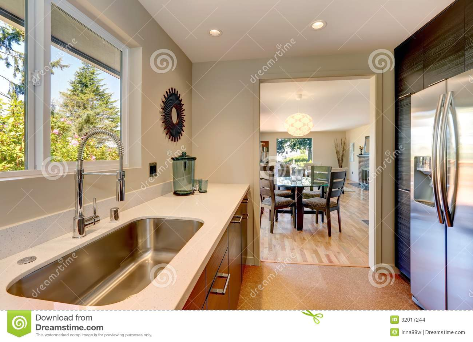 Piccola nuova cucina moderna con il grande lavandino ed i for Piccola cucina grande casa