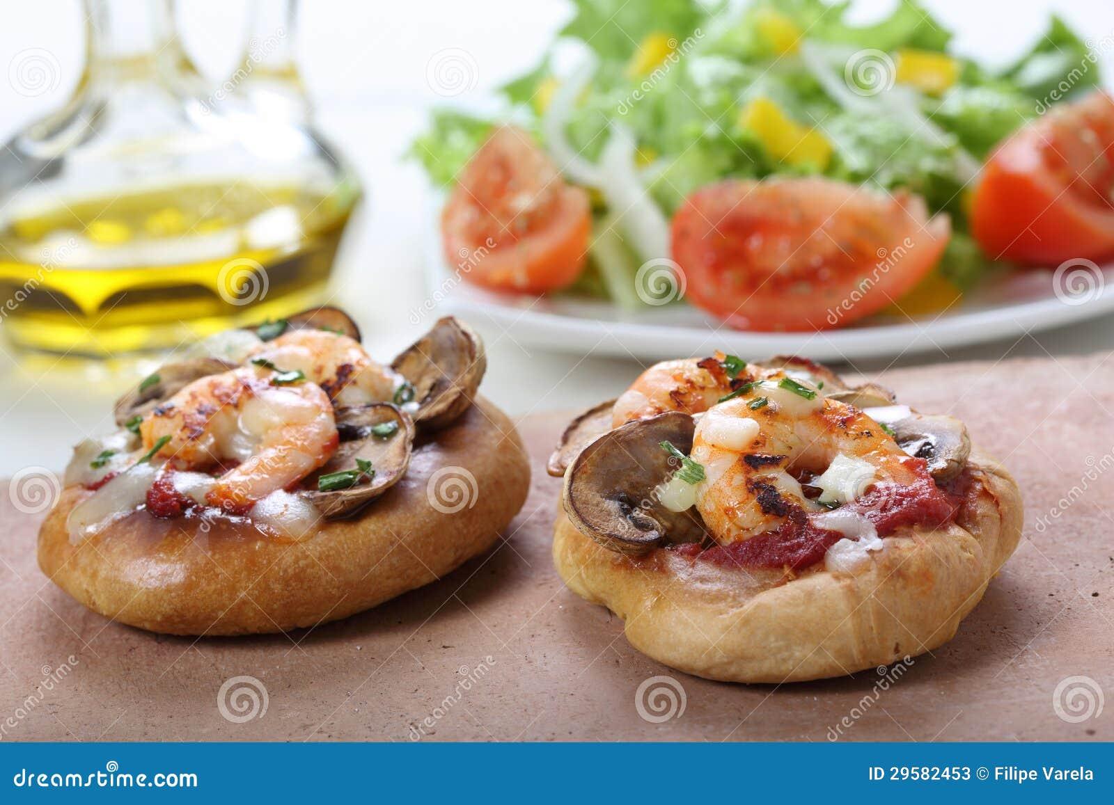 Piccola pizza del gamberetto