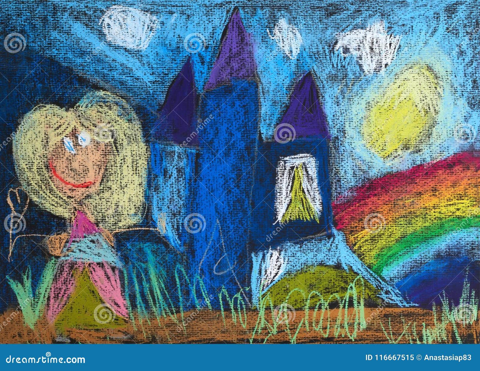 Piccola principessa con una bacchetta magica ed il suo castello