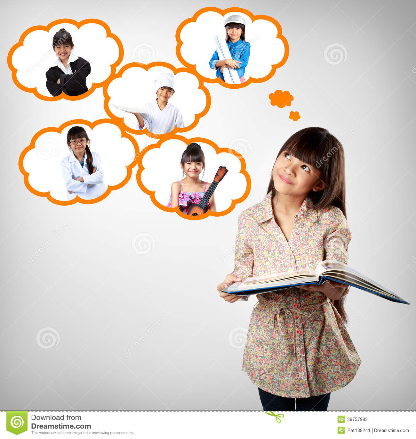 Piccola ragazza asiatica che pensa all istruzione futura
