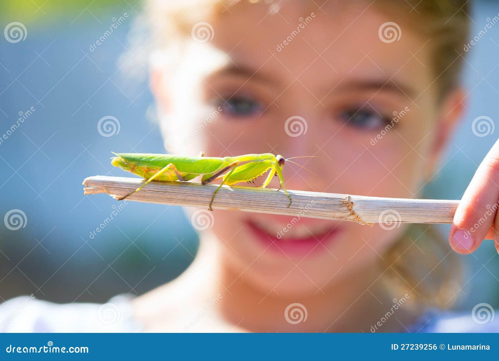 Piccola ragazza del bambino che osserva il mantis di preghiera