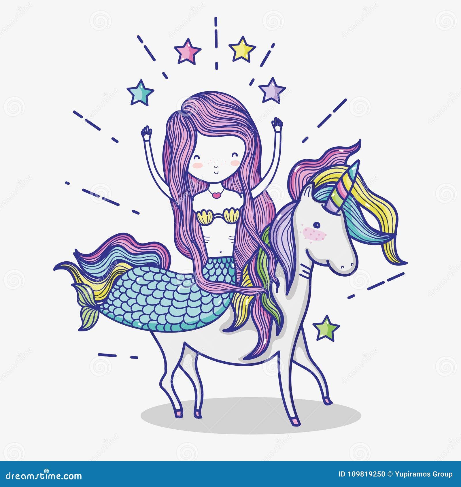 Piccola sirena con il fumetto di arte dell unicorno