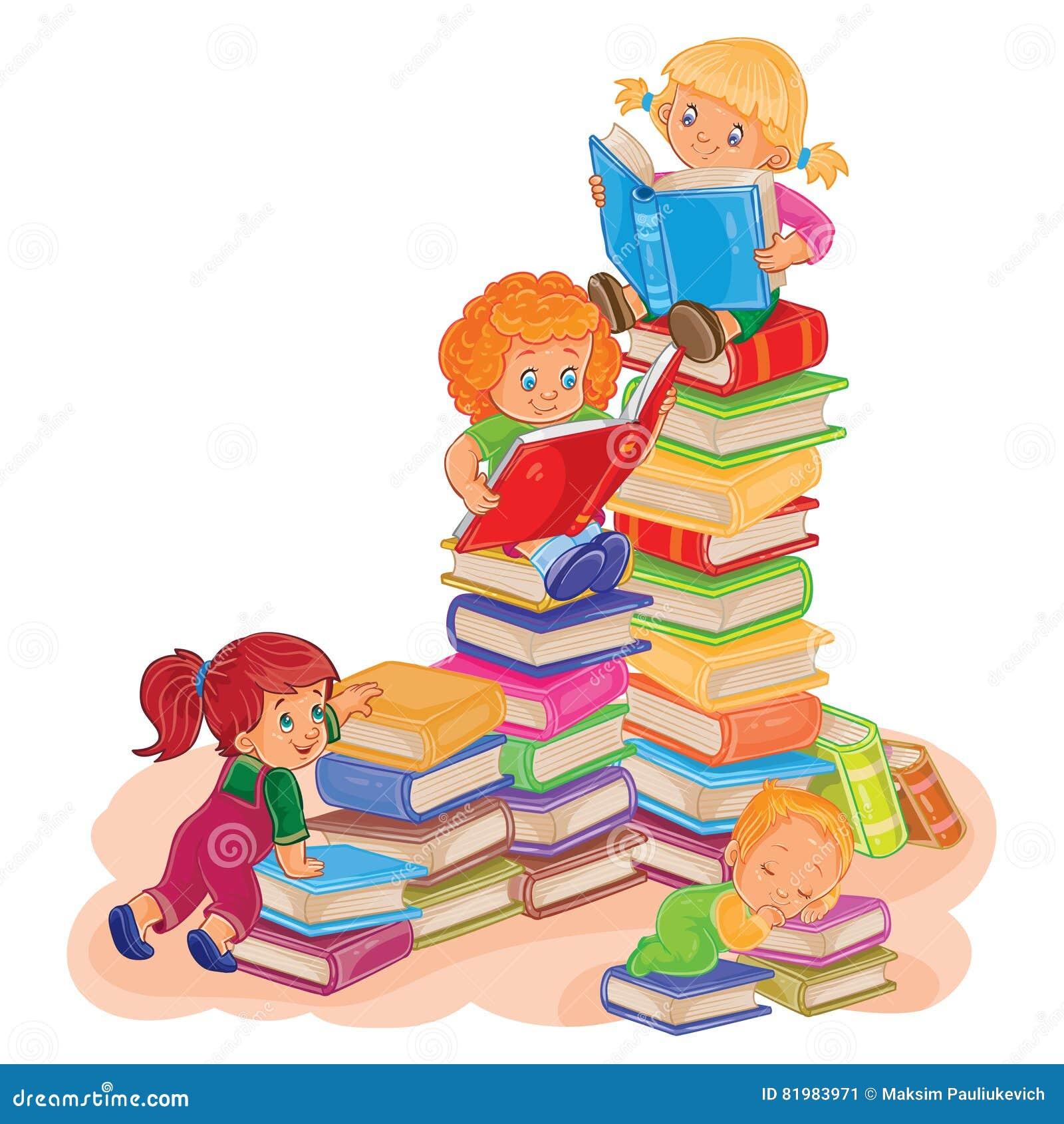 Piccoli bambini che leggono un libro illustrazione for Foto di un libro
