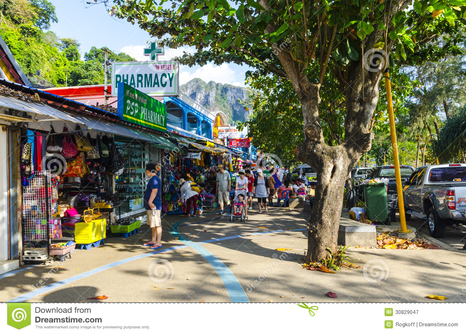 Piccoli caffè e negozi sul tailandese