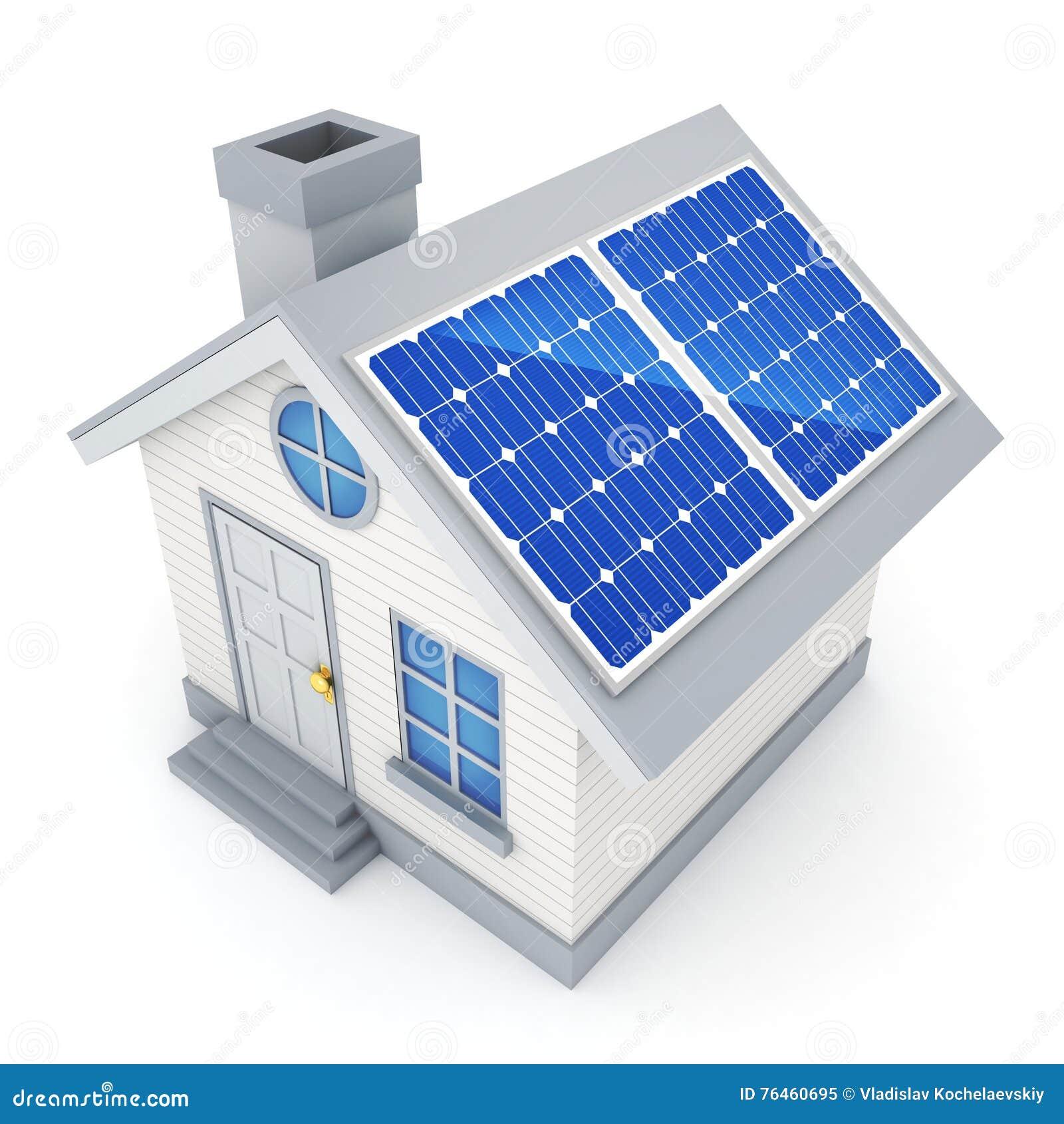 Pannello Solare Da Casa : Piccoli casa e pannello solare ecologici astratti