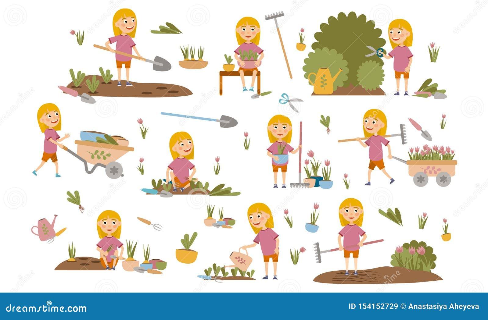 Piccoli piante di giardinaggio della ragazza, letti biondi messi dell erbaccia, piantine d innaffiatura, cespugli di potatura ed