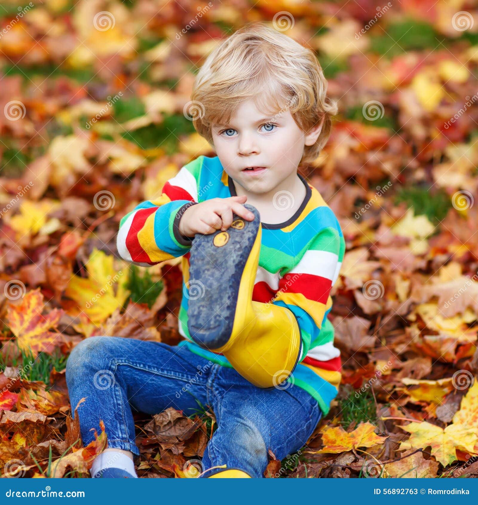 Piccoli ragazzi svegli del ragazzo del bambino che risiedono nelle foglie di autunno nei clo variopinti