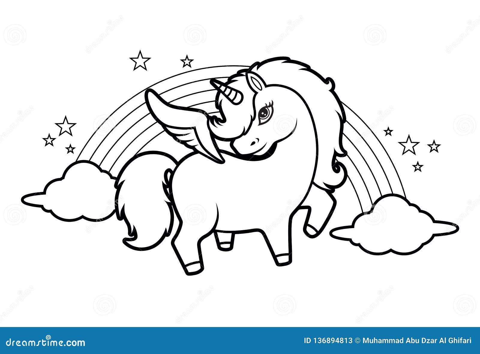 Piccoli Unicorno Arcobaleno E Stelle Magici Svegli Illustrazione Di Libro Da Colorare Per I Bambini Vettore Illustrazione Vettoriale Illustrazione Di Background Fantasia 136894813
