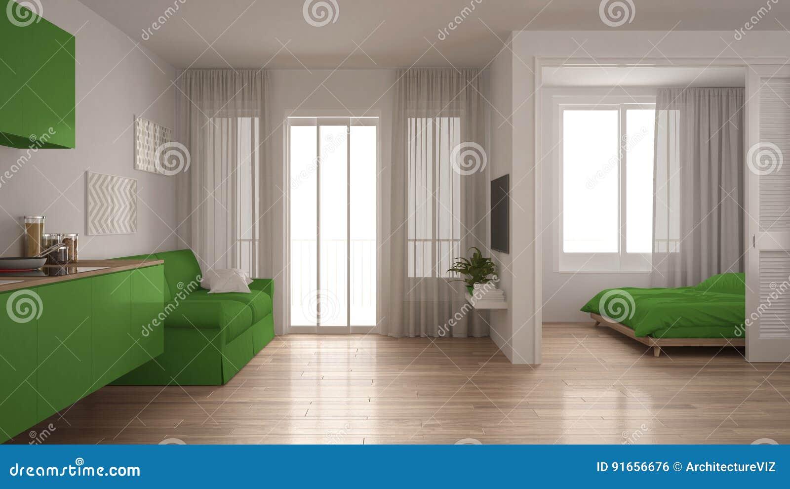 Cucina Soggiorno Camera Da Letto.Piccolo Appartamento Con La Cucina Il Salone E La Camera Da