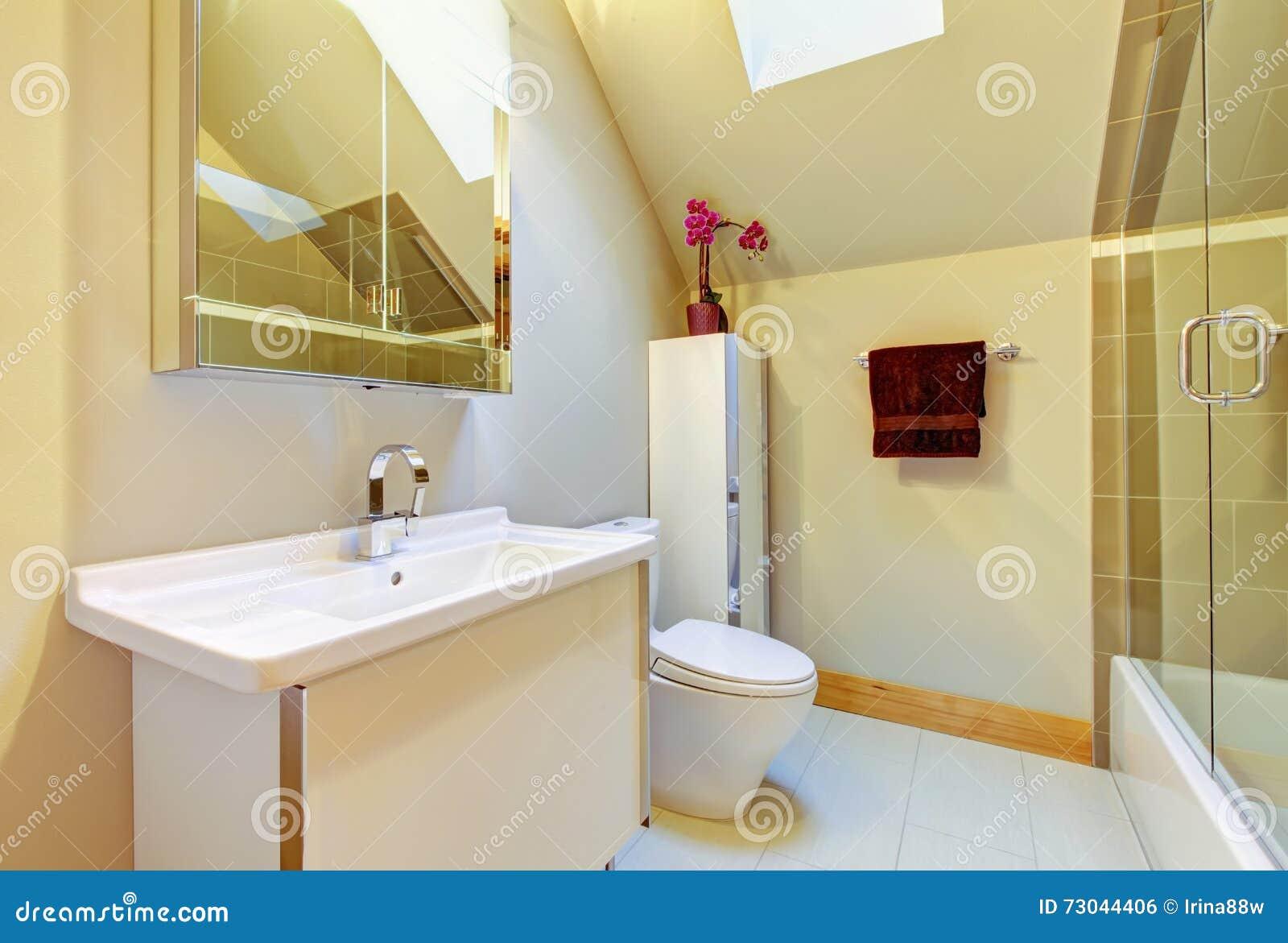 Bagno Beige Piccolo : Piccolo bagno beige con la doccia la toilette ed il soffitto arcato