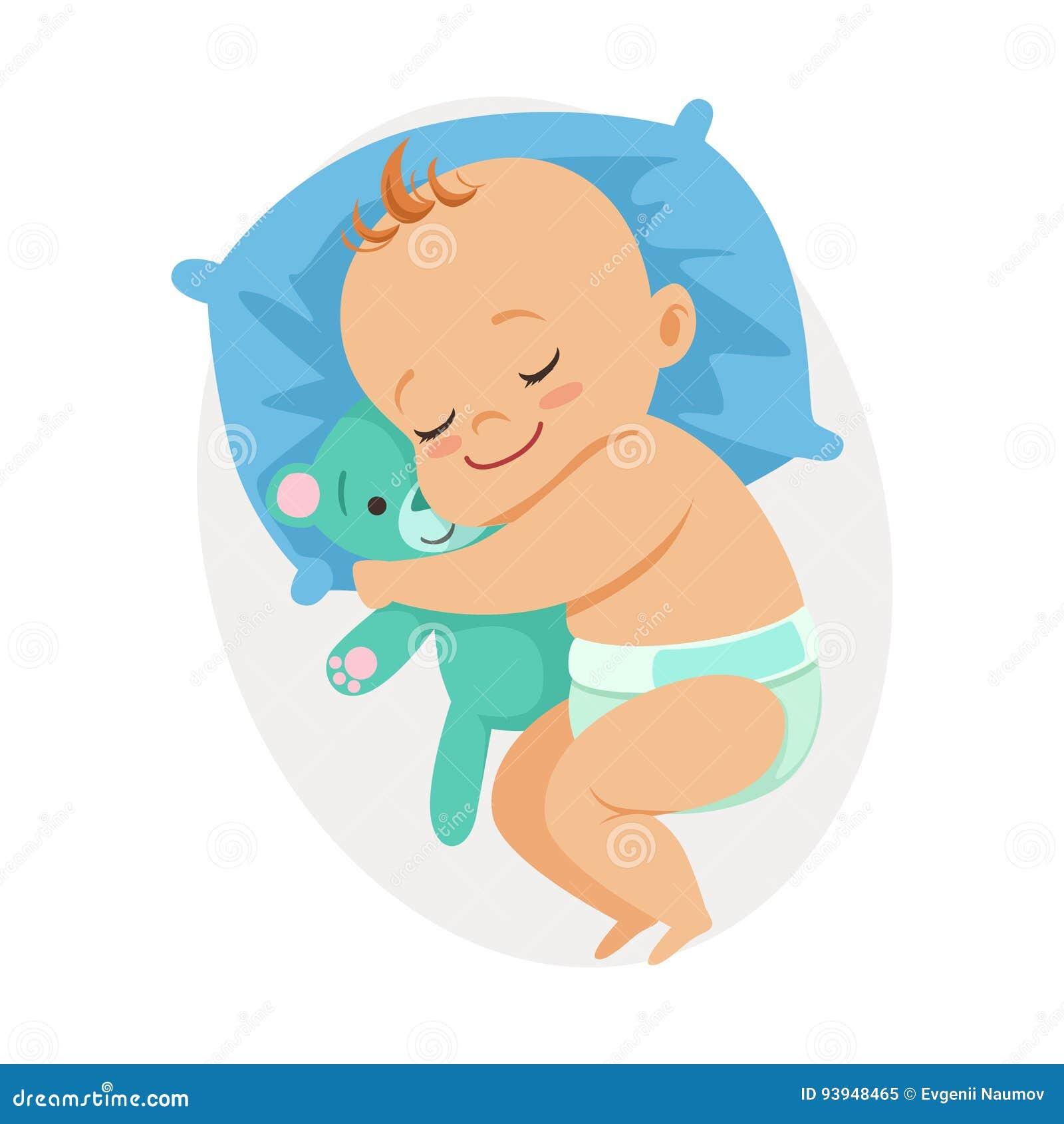 Piccolo bambino dolce che dorme nel suo letto e che abbraccia orsacchiotto, illustrazione variopinta di vettore del personaggio d