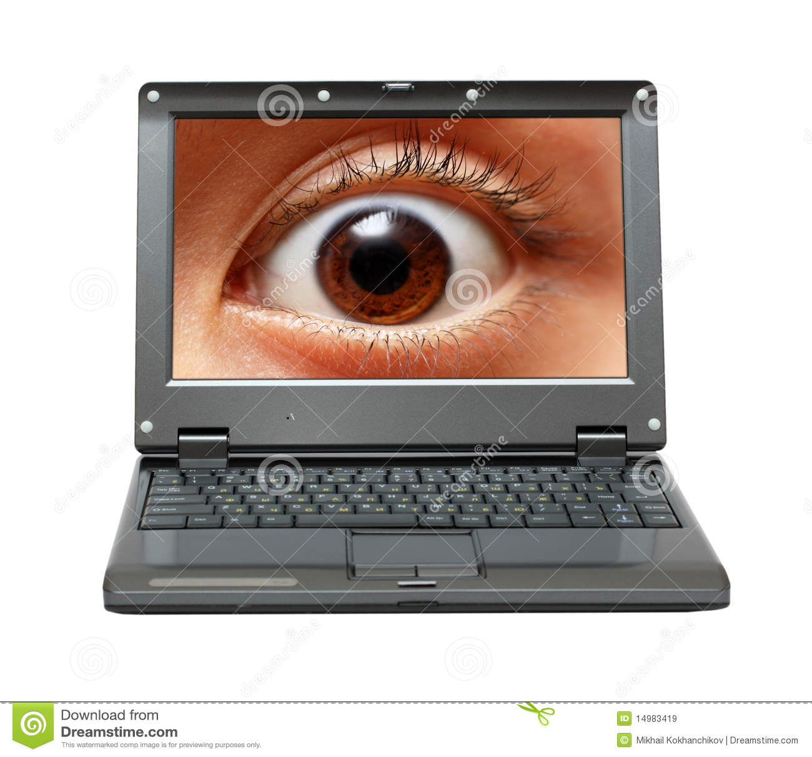 Piccolo Computer Portatile Con L'occhio Sullo Schermo Immagine Stock - Immagine di ...