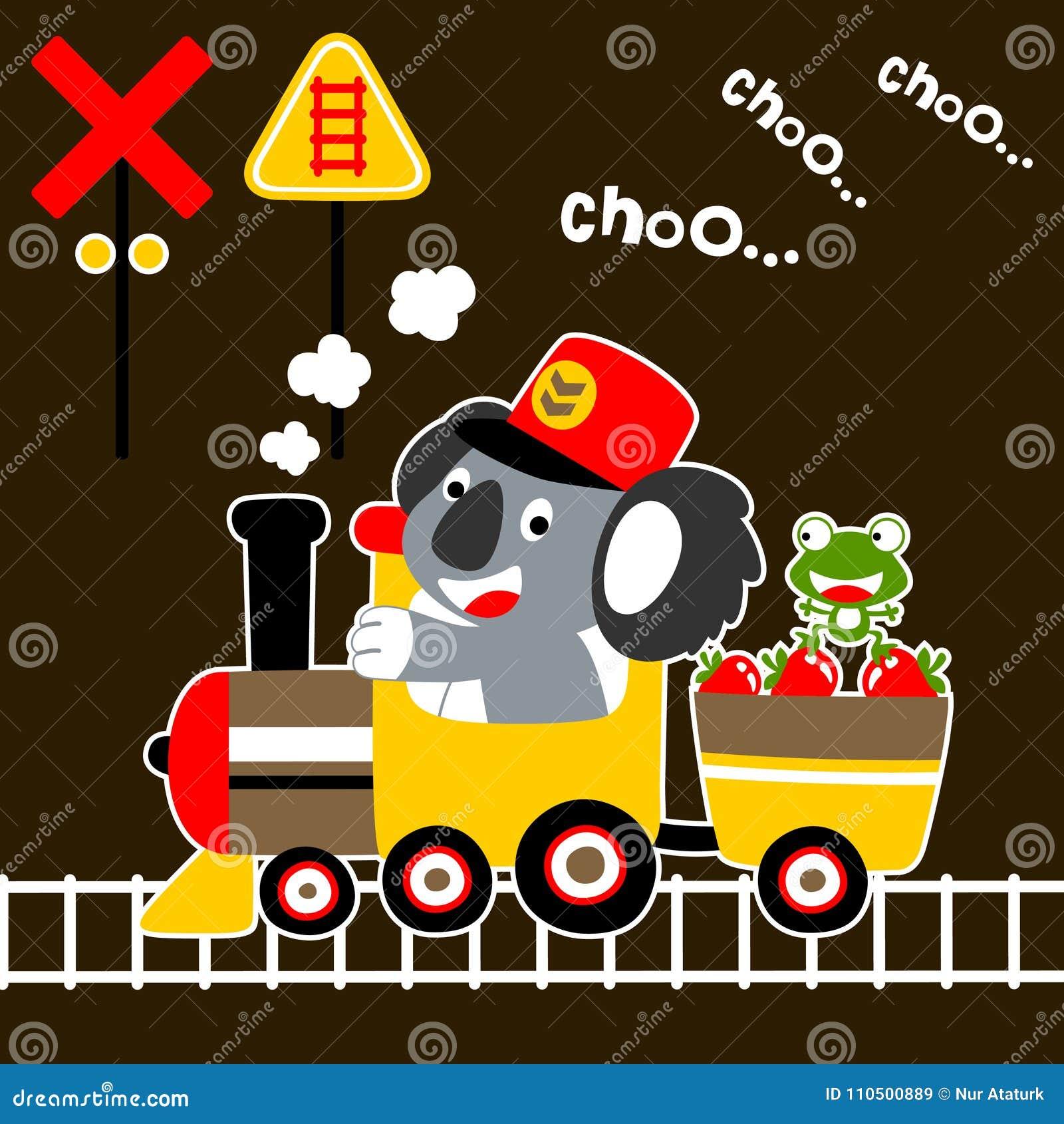 Piccolo fumetto sveglio degli animali sul treno del carbone