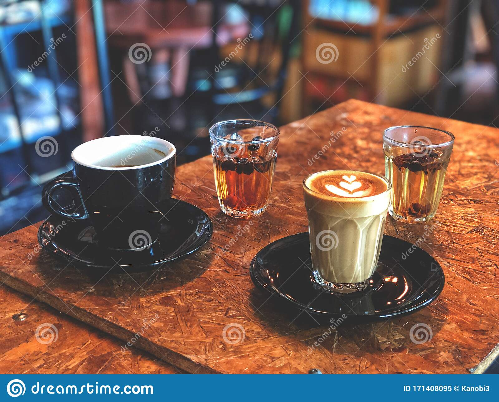 Piccolo Latte Coffee Glass And Black Coffee And Coffee ...