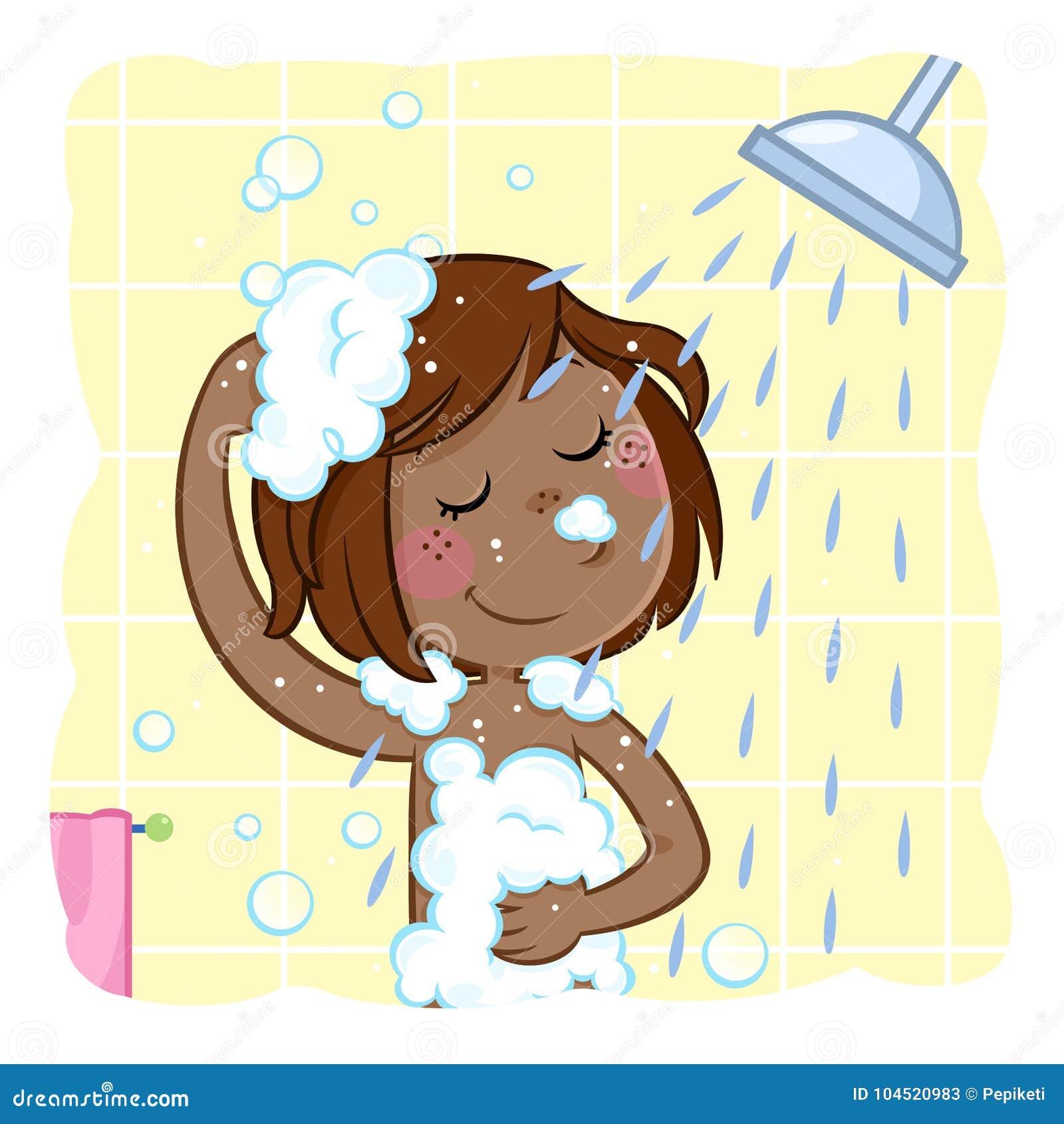 Piccolo lavaggio nero adorabile della ragazza i suoi capelli di marrone scuro