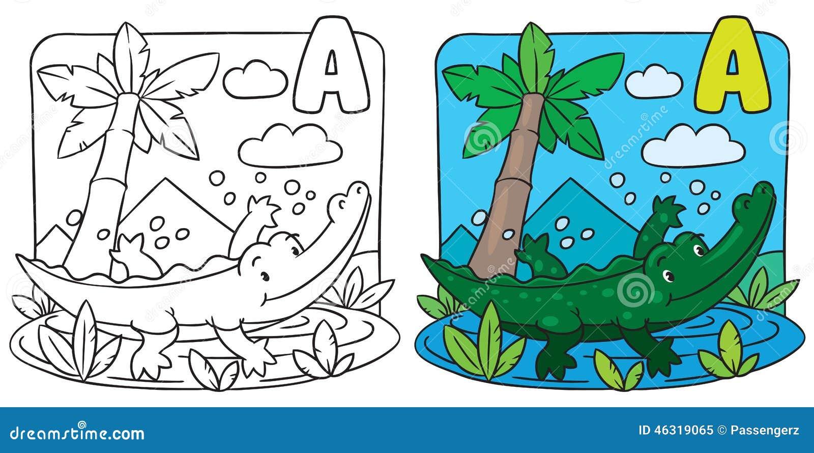 Piccolo libro da colorare del coccodrillo alfabeto a for Coccodrillo da colorare