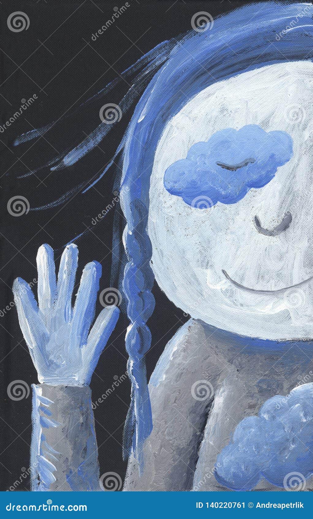 Piccolo ragazza blu dice ciao - artistico