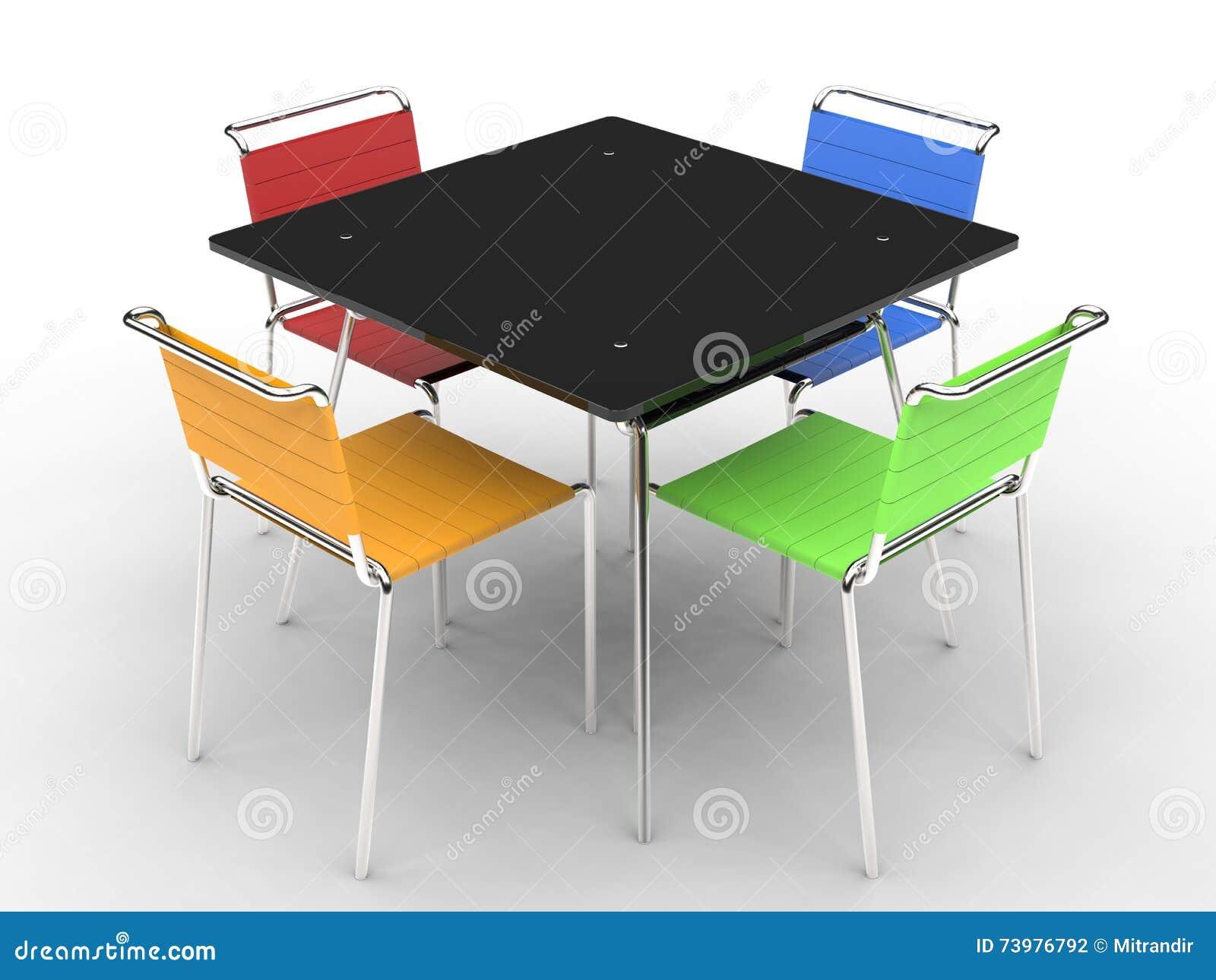 Piccolo tavolo da pranzo nero con le sedie variopinte for Tavolo da pranzo piccolo