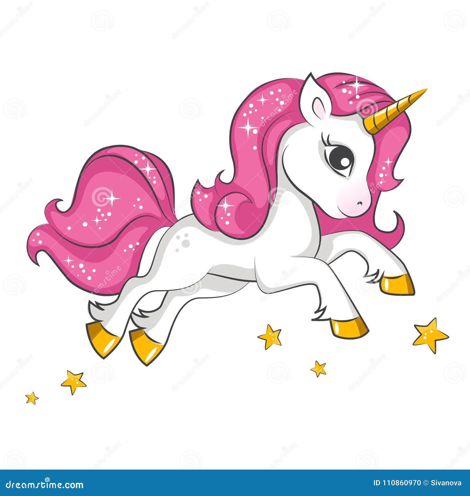 Piccolo Unicorno Rosa Progettazione Per I Bambini Illustrazione