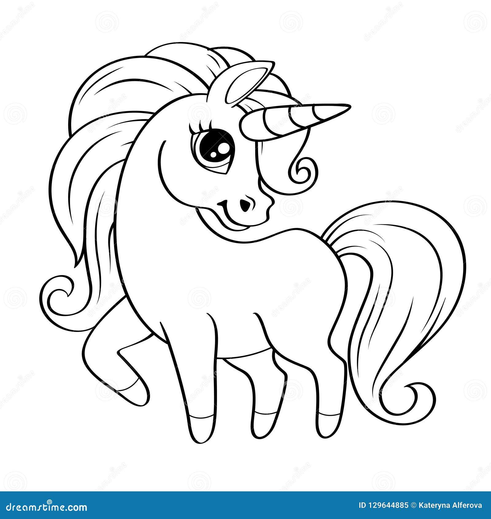 Piccolo Unicorno Sveglio Illustrazione In Bianco E Nero Di Vettore