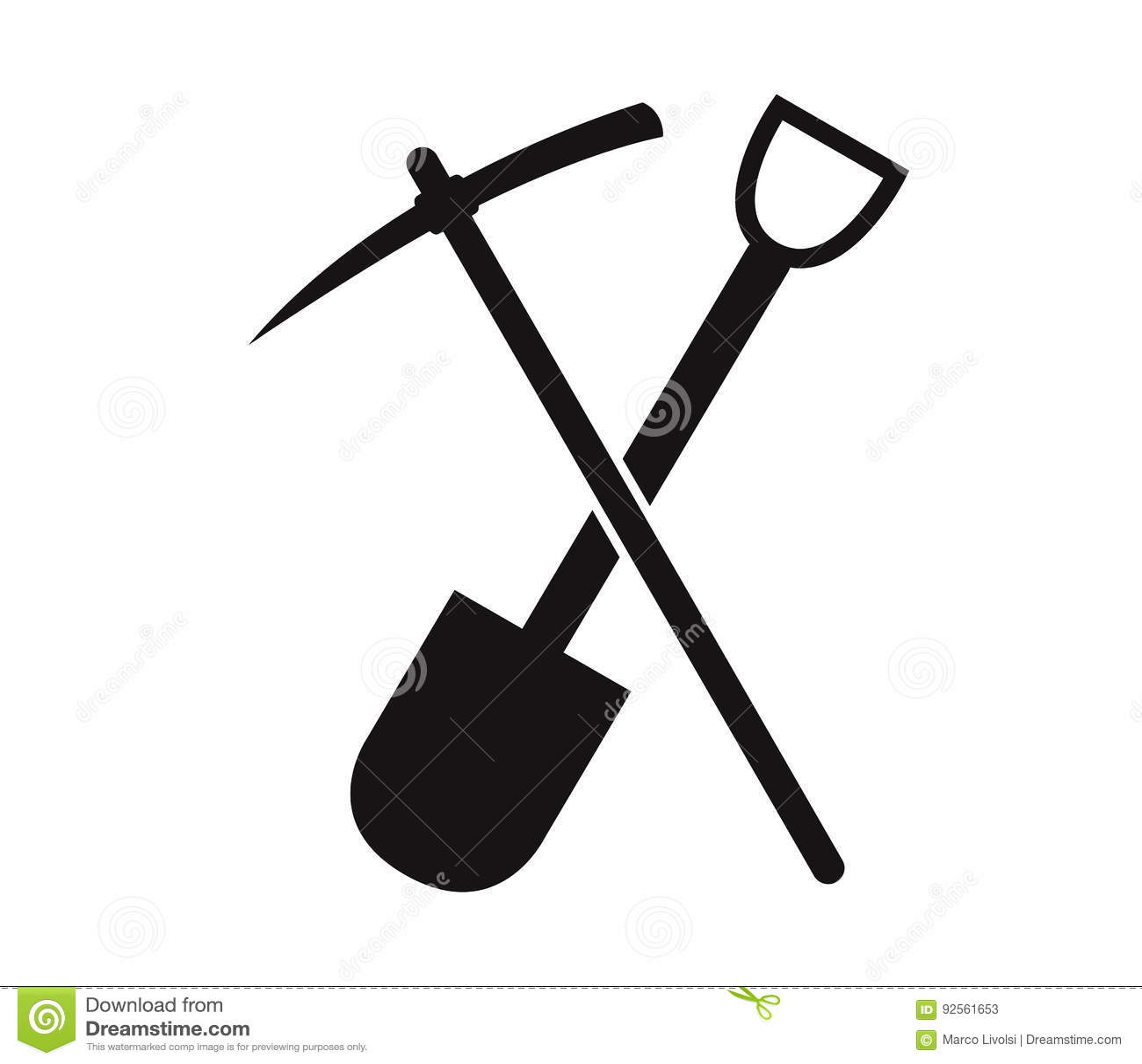 Piccone e pala da scavare